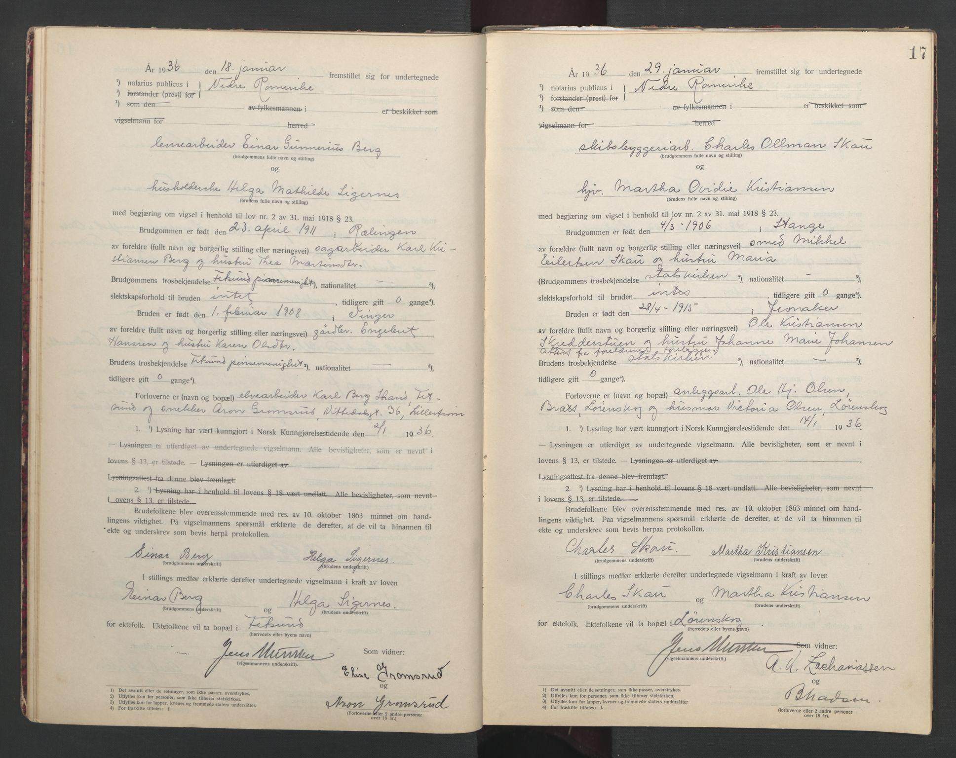 SAO, Nedre Romerike sorenskriveri, L/Lb/L0002: Vigselsbok - borgerlige vielser, 1935-1942, s. 17