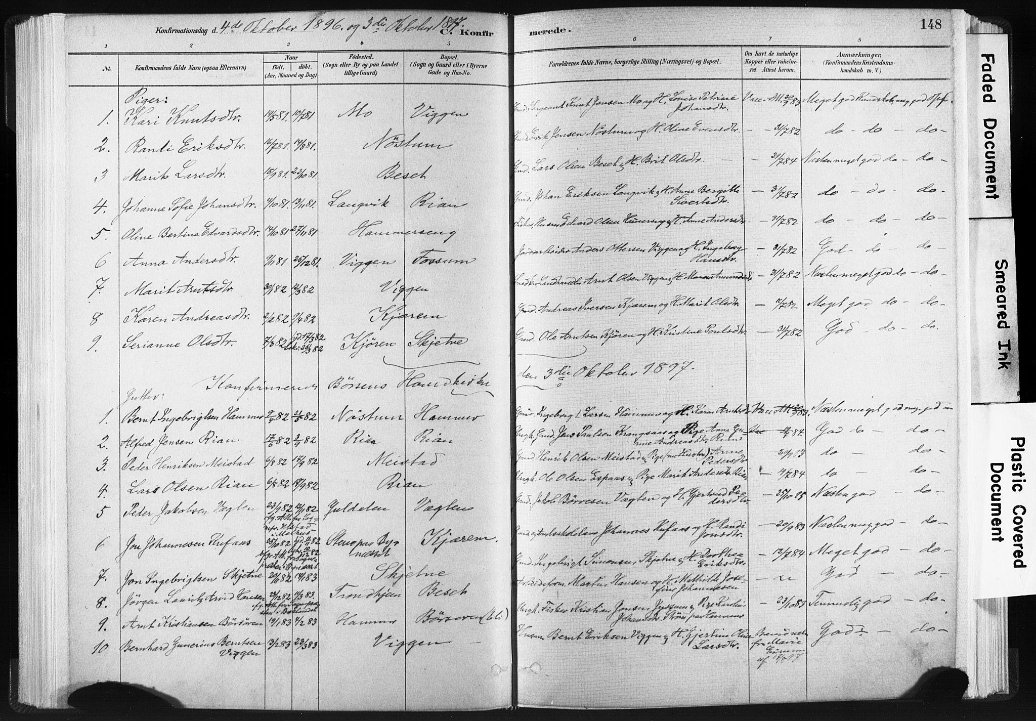 SAT, Ministerialprotokoller, klokkerbøker og fødselsregistre - Sør-Trøndelag, 665/L0773: Ministerialbok nr. 665A08, 1879-1905, s. 148