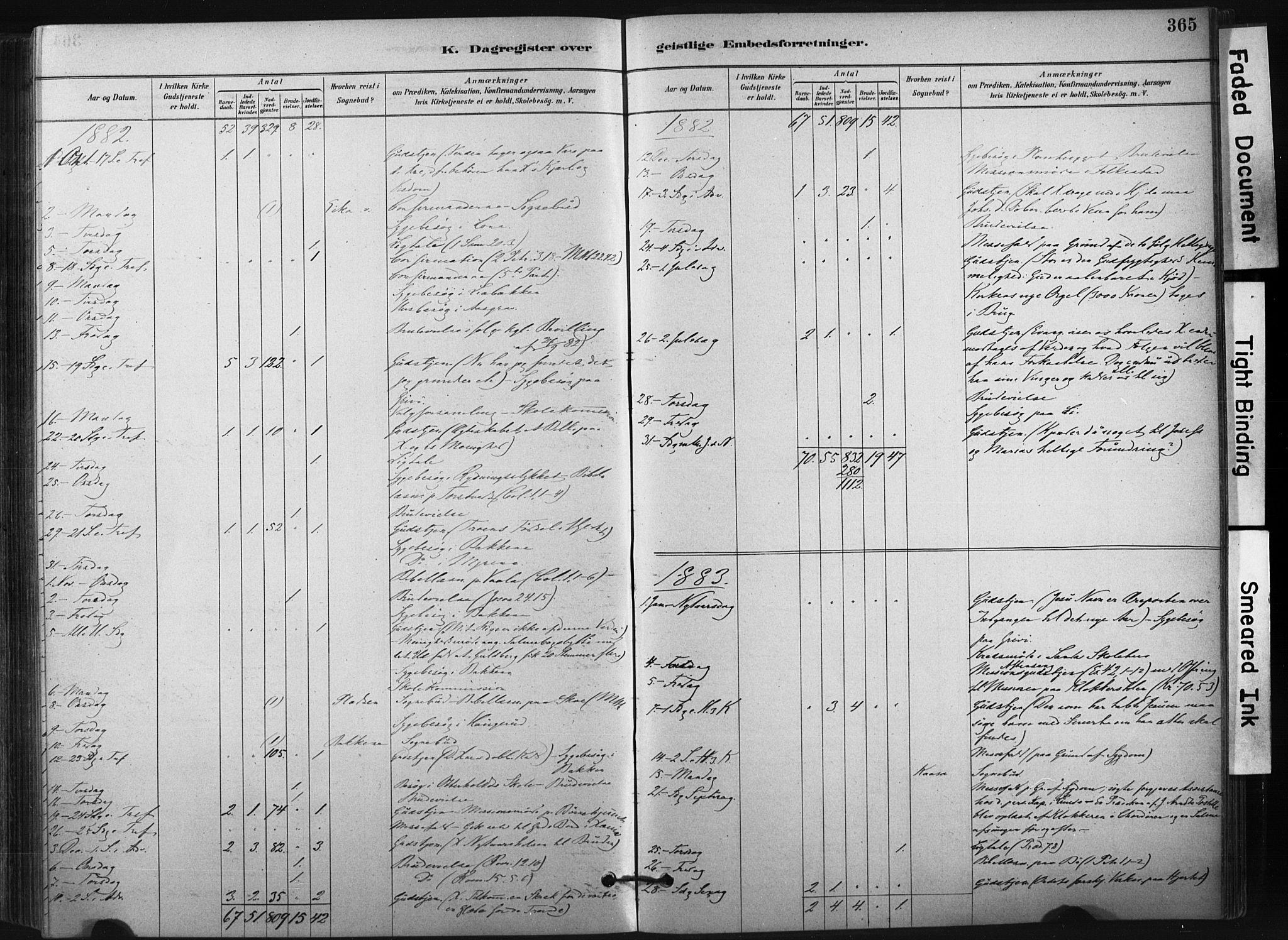 SAKO, Bø kirkebøker, F/Fa/L0010: Ministerialbok nr. 10, 1880-1892, s. 365
