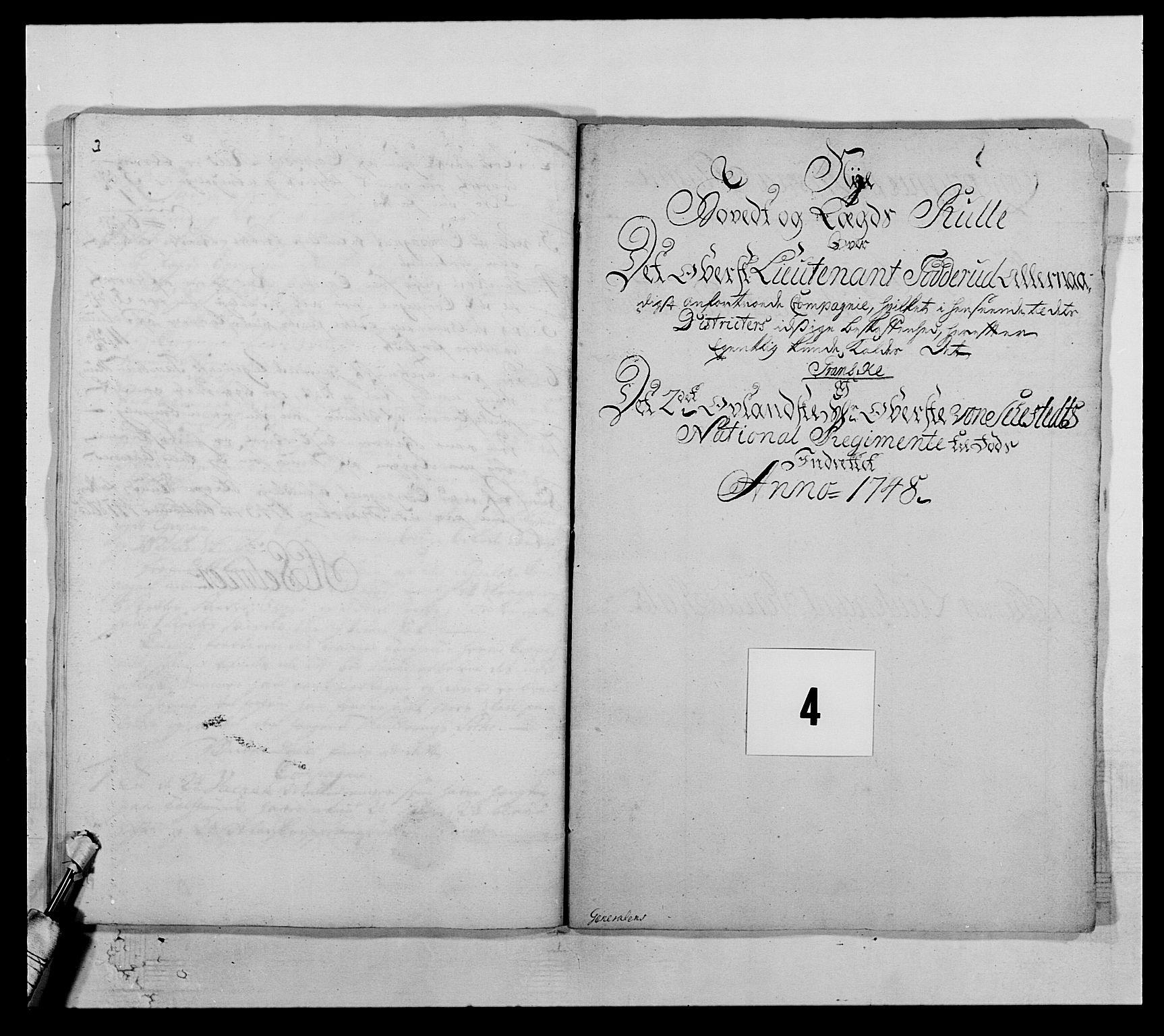 RA, Kommanderende general (KG I) med Det norske krigsdirektorium, E/Ea/L0505: 2. Opplandske regiment, 1748, s. 96