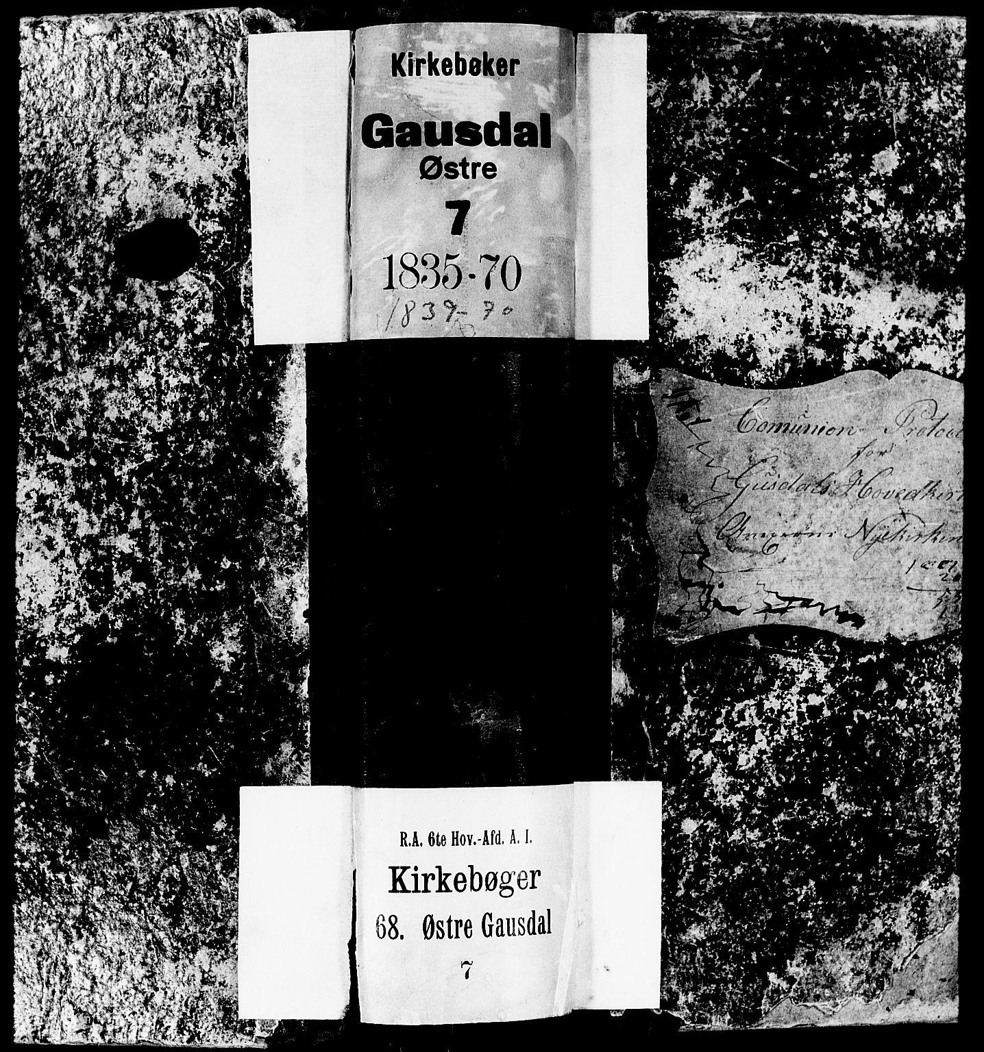 SAH, Gausdal prestekontor, Klokkerbok nr. 4, 1835-1870