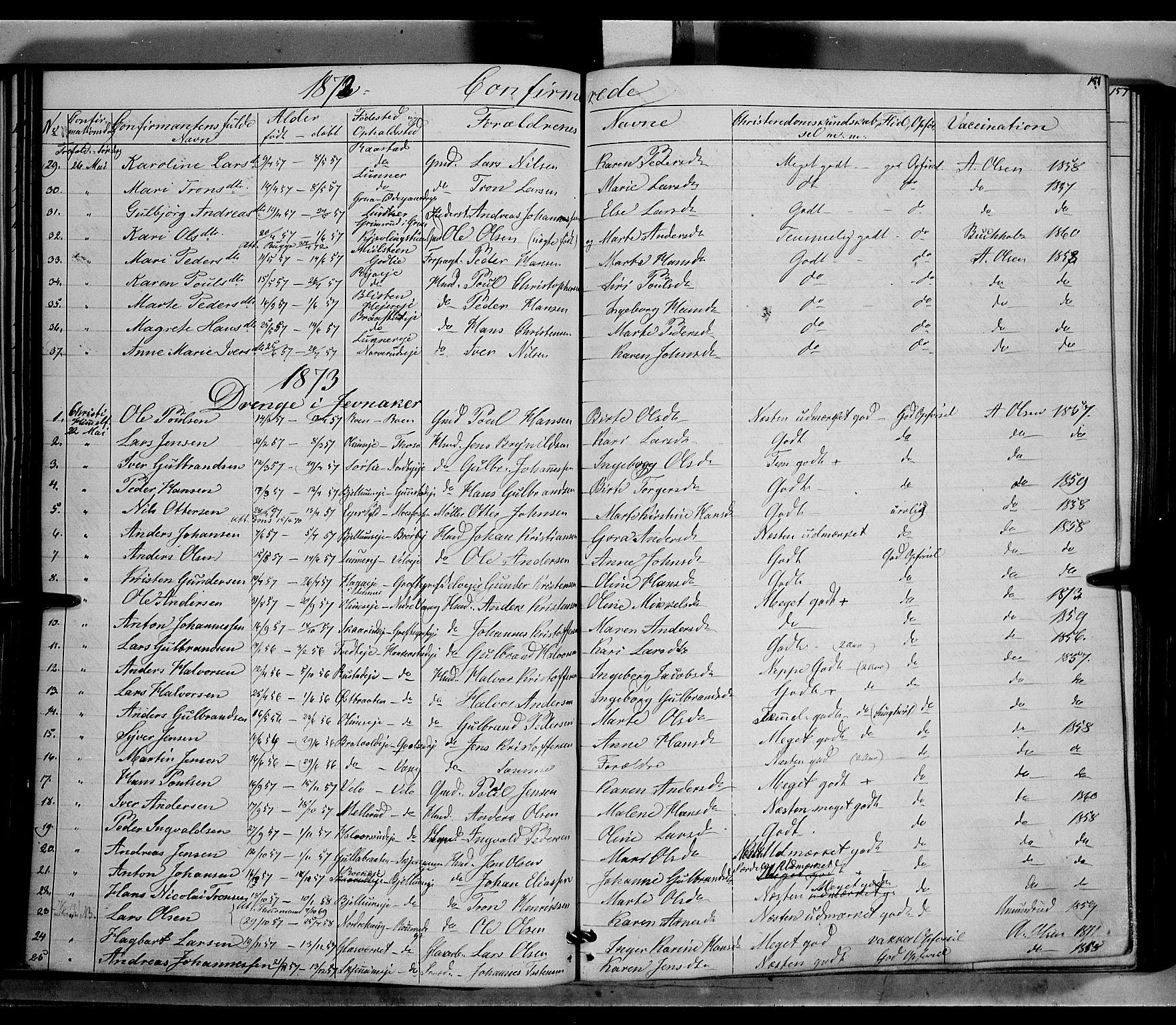 SAH, Jevnaker prestekontor, Ministerialbok nr. 7, 1858-1876, s. 151