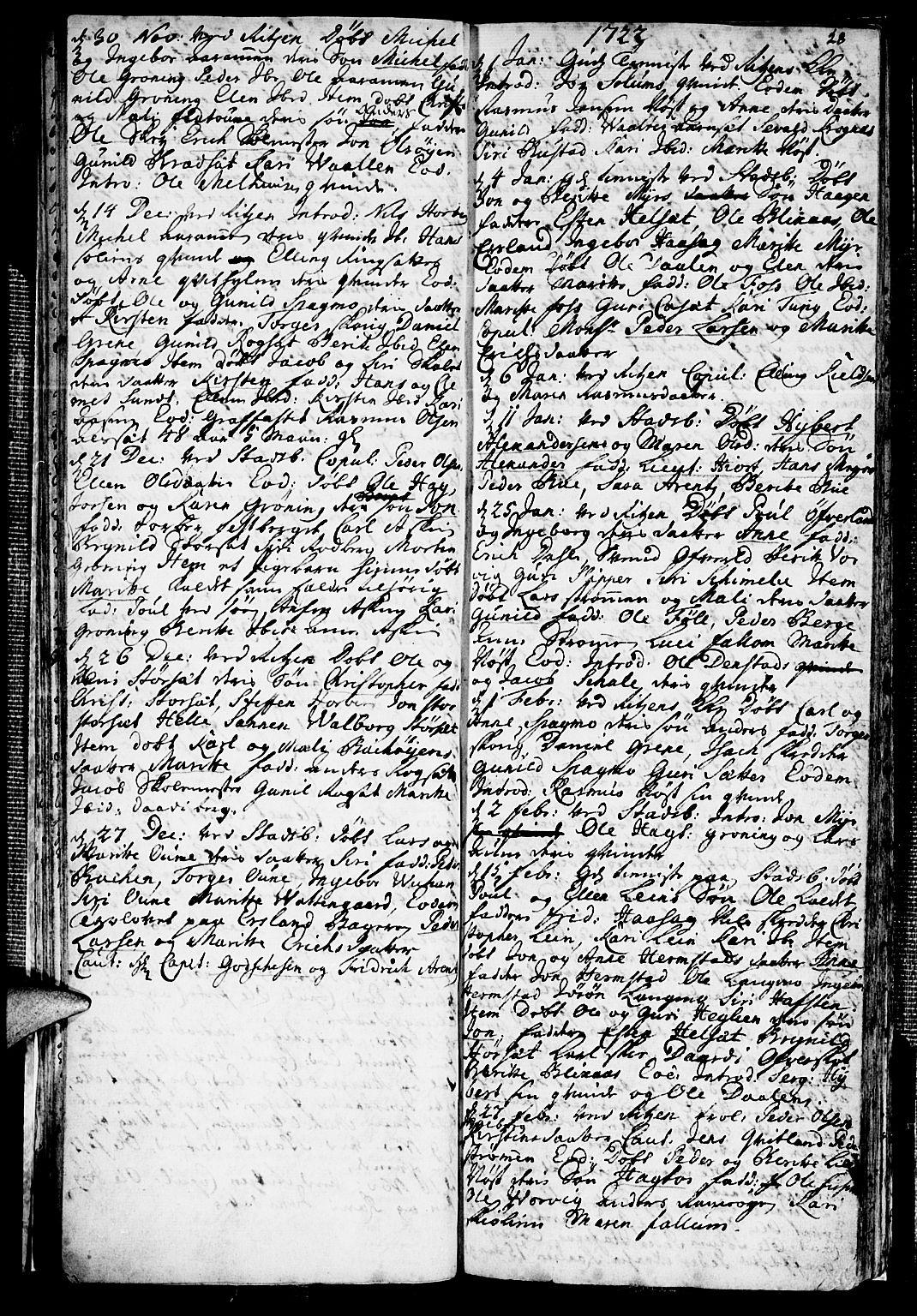 SAT, Ministerialprotokoller, klokkerbøker og fødselsregistre - Sør-Trøndelag, 646/L0603: Ministerialbok nr. 646A01, 1700-1734, s. 28