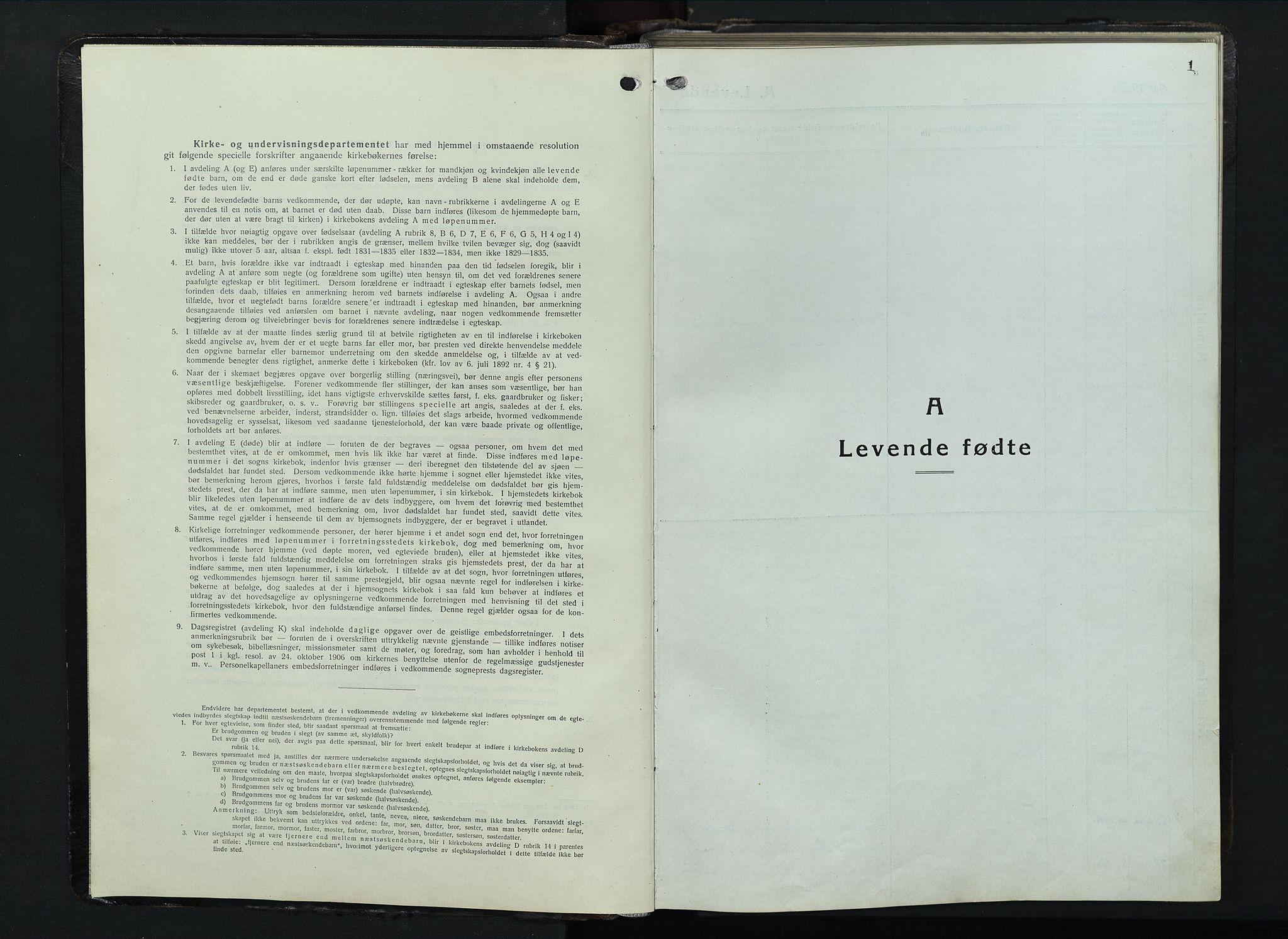 SAH, Balke prestekontor, Klokkerbok nr. 1, 1920-1955, s. 1