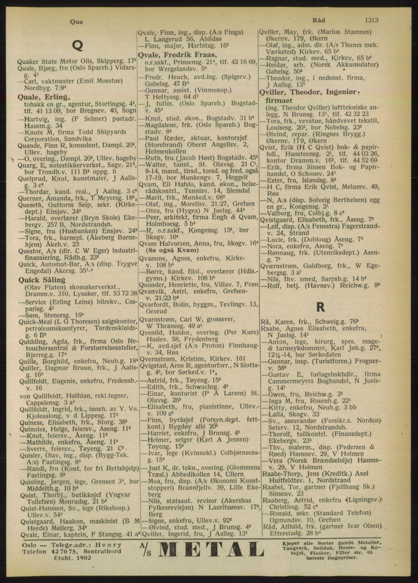 RA, Oslo adressebok (publikasjon)*, 1950, s. 1213