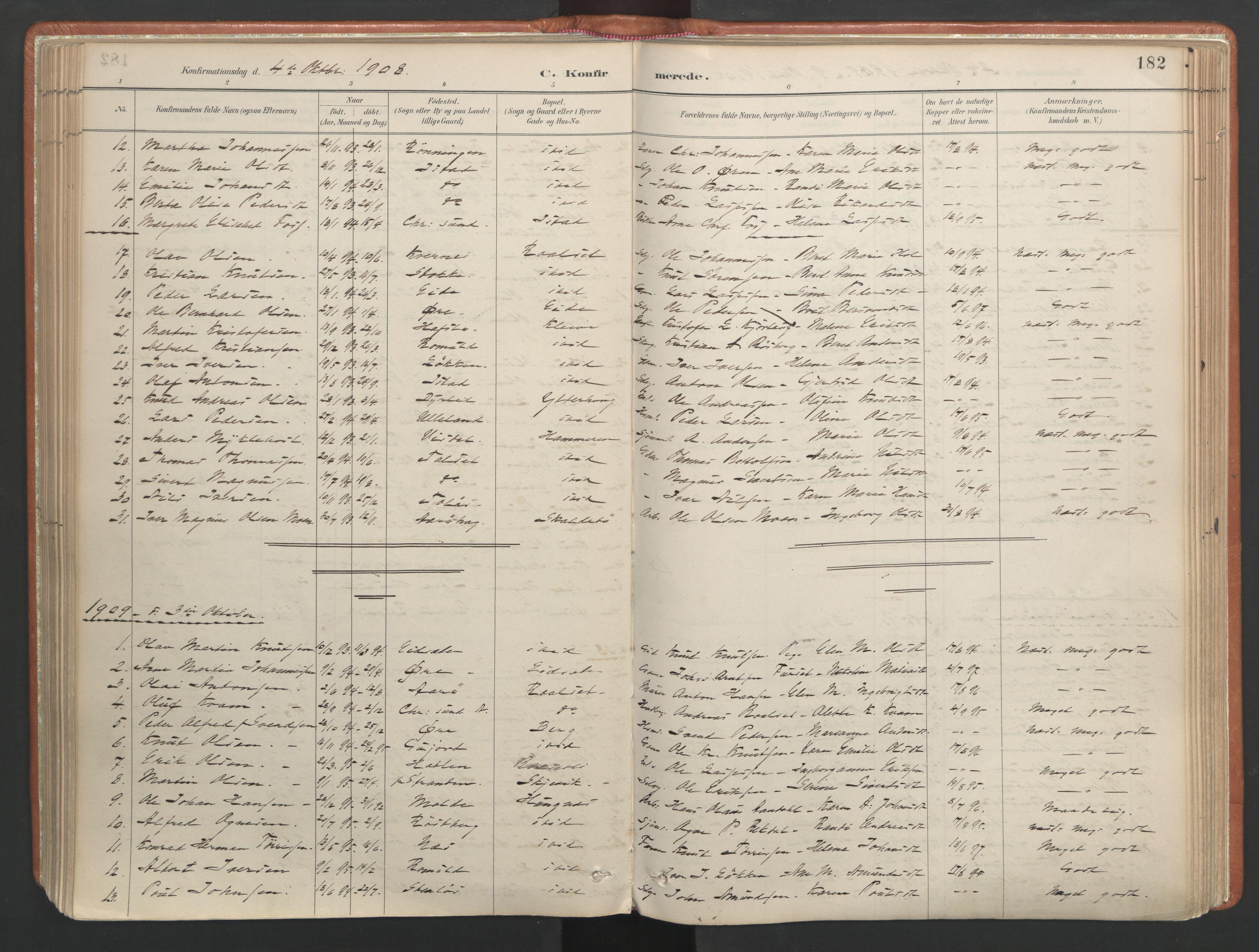 SAT, Ministerialprotokoller, klokkerbøker og fødselsregistre - Møre og Romsdal, 557/L0682: Ministerialbok nr. 557A04, 1887-1970, s. 182