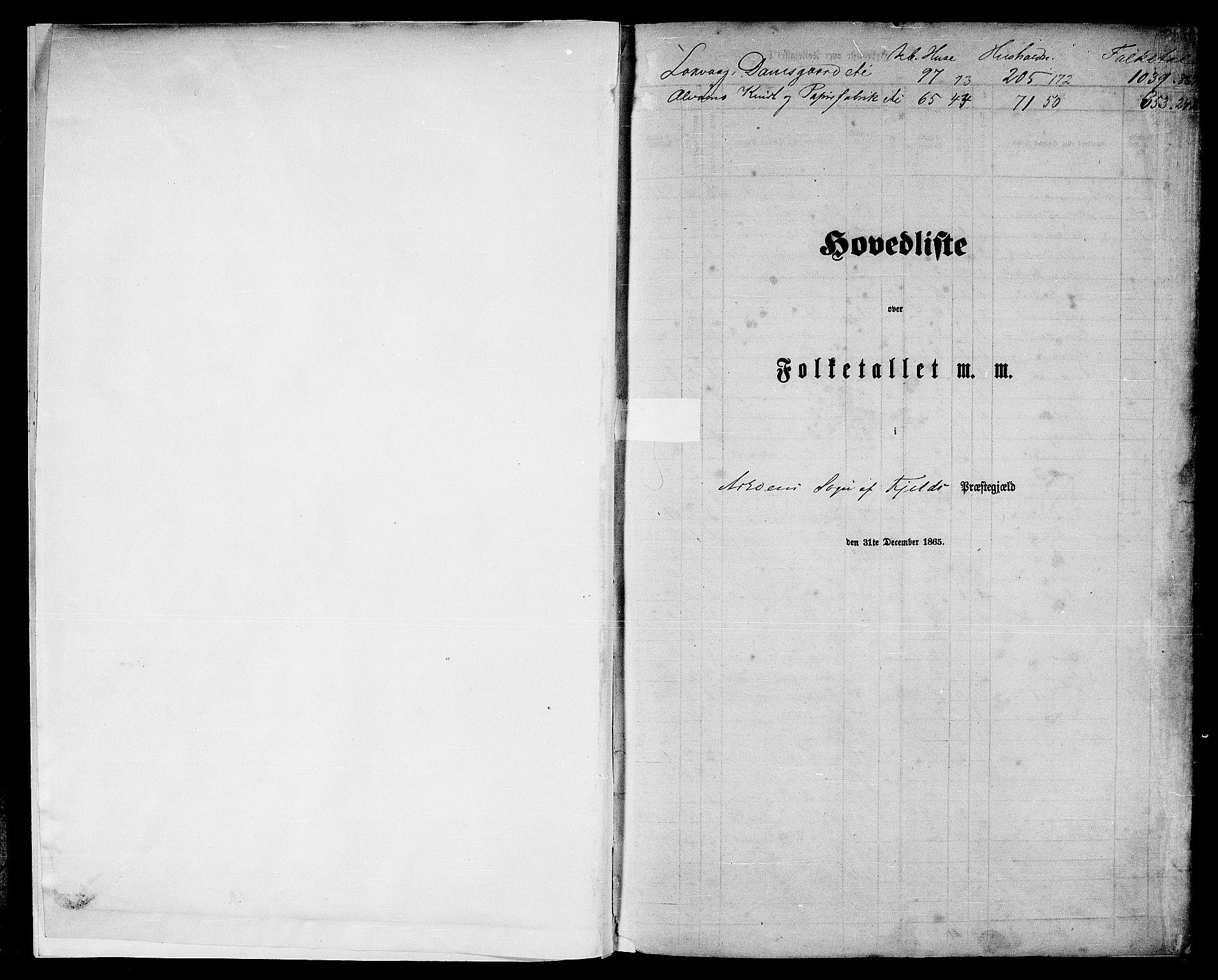 RA, Folketelling 1865 for 1246P Fjell prestegjeld, 1865, s. 5