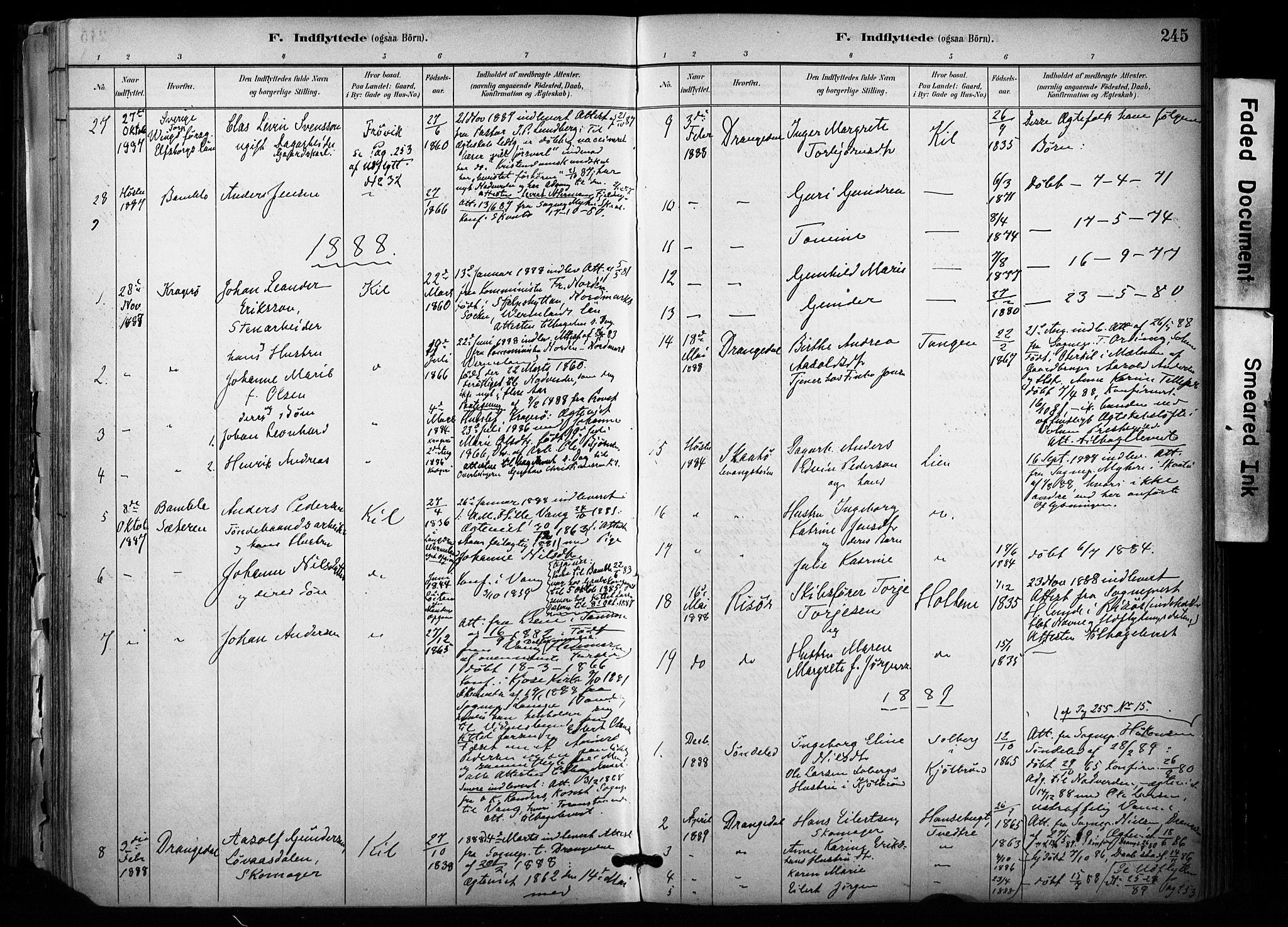 SAKO, Sannidal kirkebøker, F/Fa/L0015: Ministerialbok nr. 15, 1884-1899, s. 245
