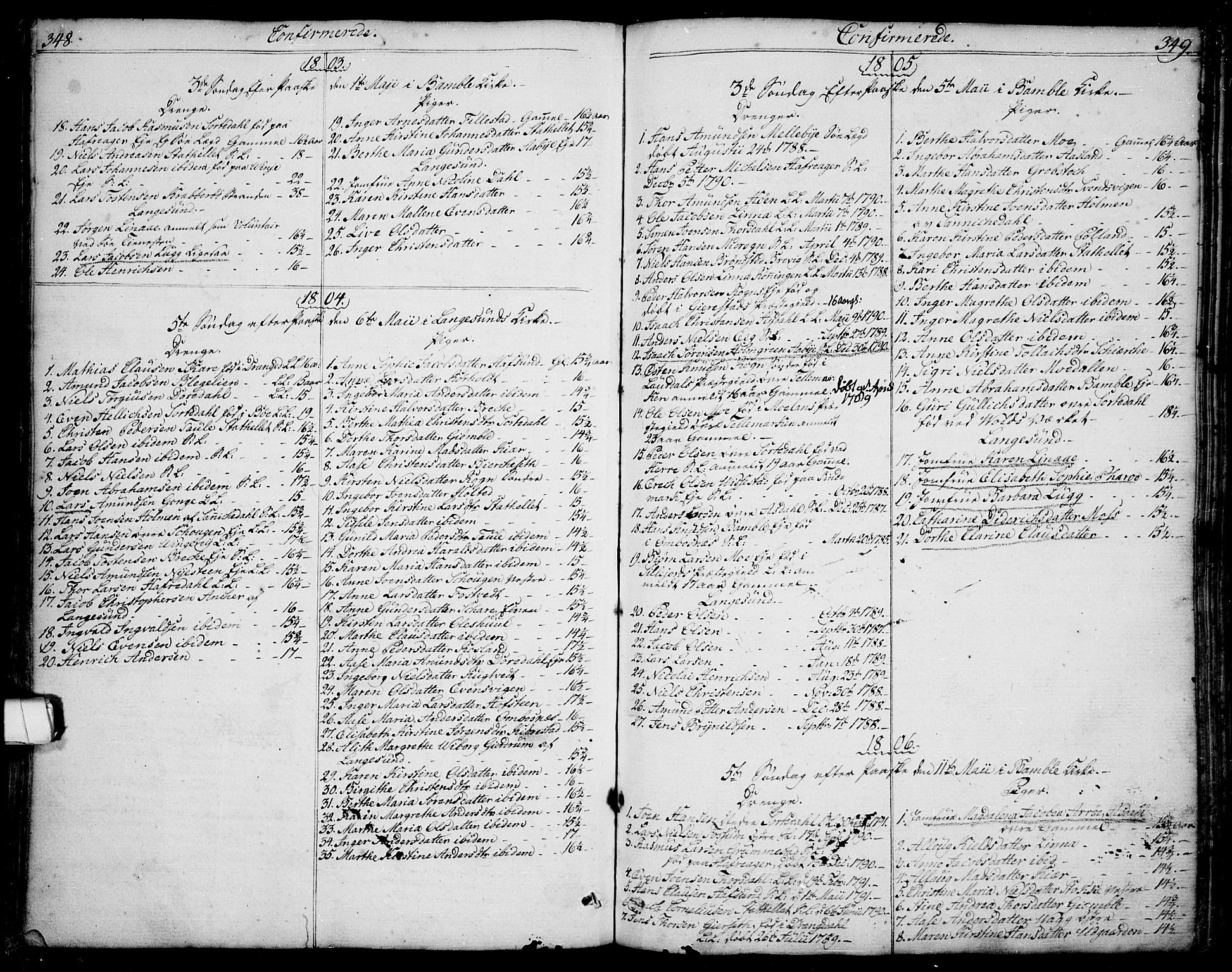SAKO, Bamble kirkebøker, F/Fa/L0002: Ministerialbok nr. I 2, 1775-1814, s. 348-349
