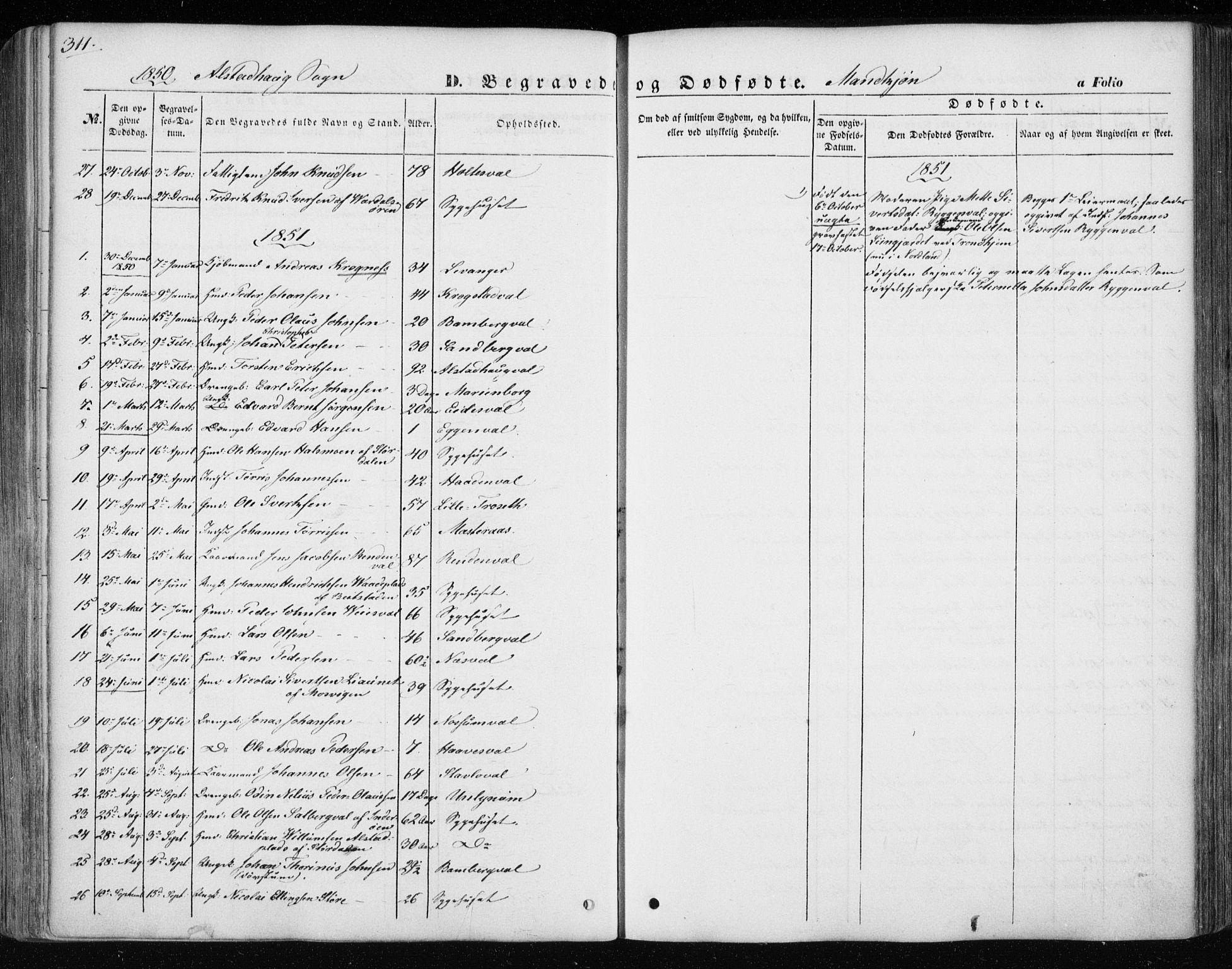 SAT, Ministerialprotokoller, klokkerbøker og fødselsregistre - Nord-Trøndelag, 717/L0154: Ministerialbok nr. 717A07 /1, 1850-1862, s. 311