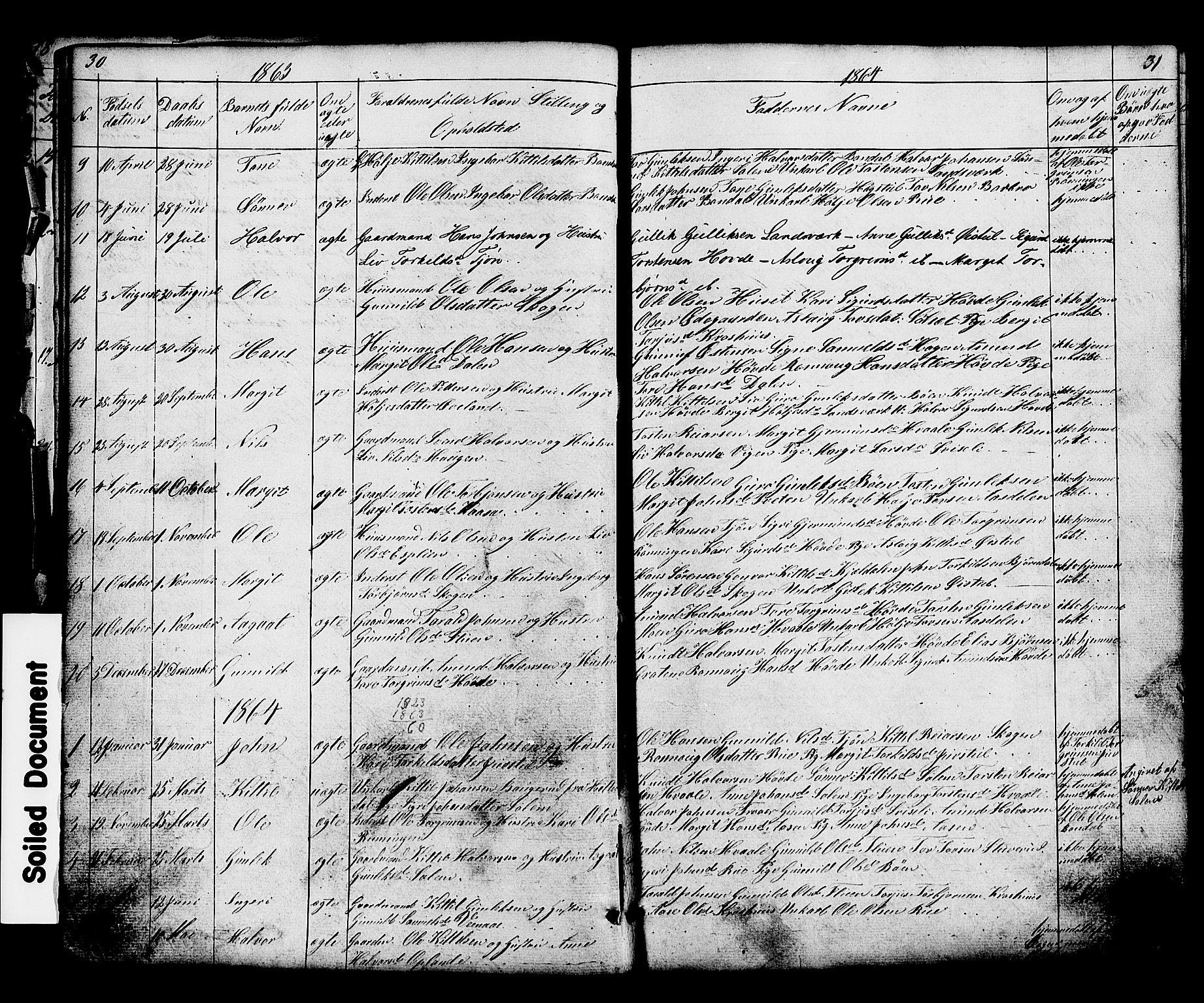 SAKO, Hjartdal kirkebøker, G/Gc/L0002: Klokkerbok nr. III 2, 1854-1890, s. 30-31