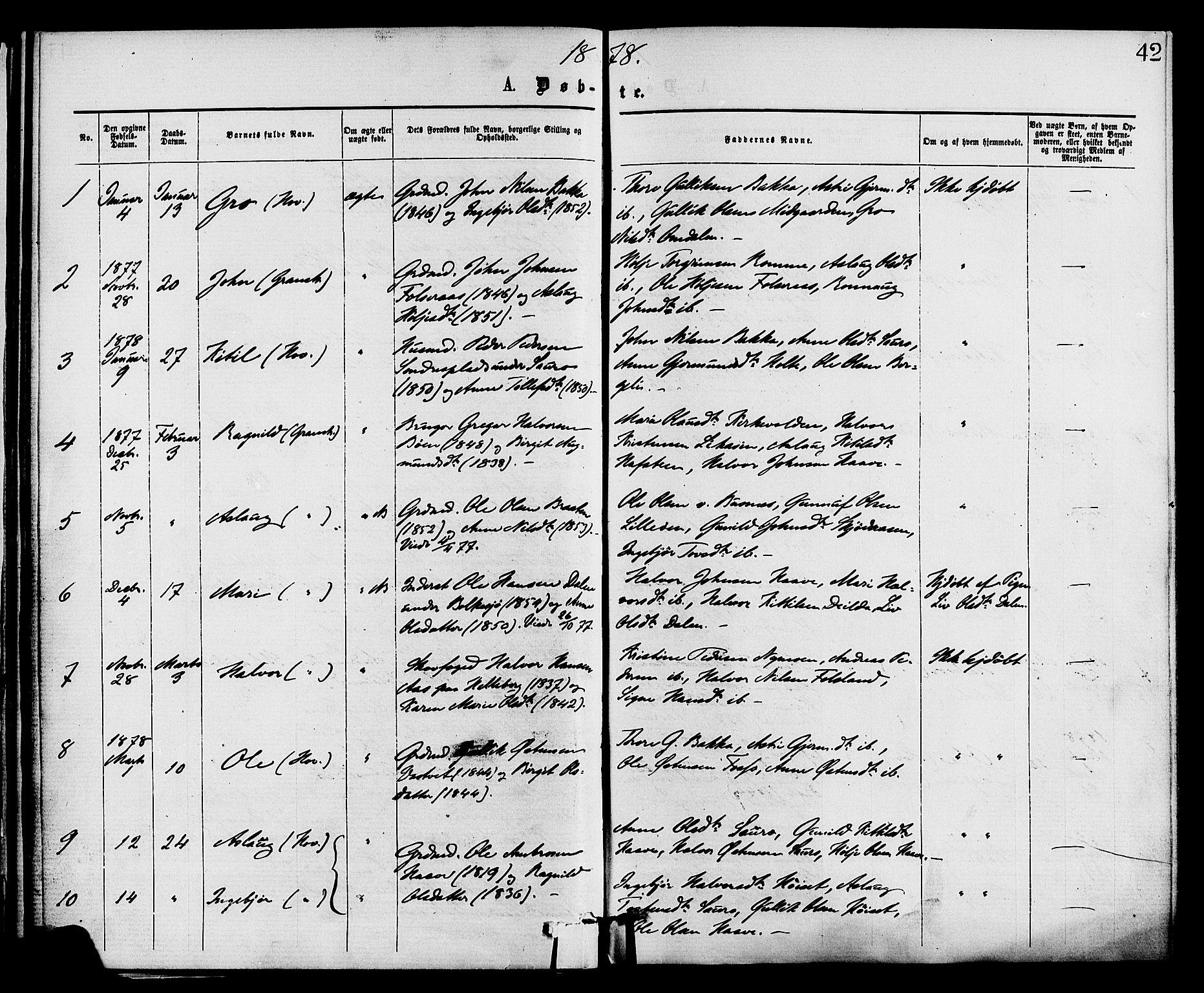 SAKO, Gransherad kirkebøker, F/Fa/L0004: Ministerialbok nr. I 4, 1871-1886, s. 42