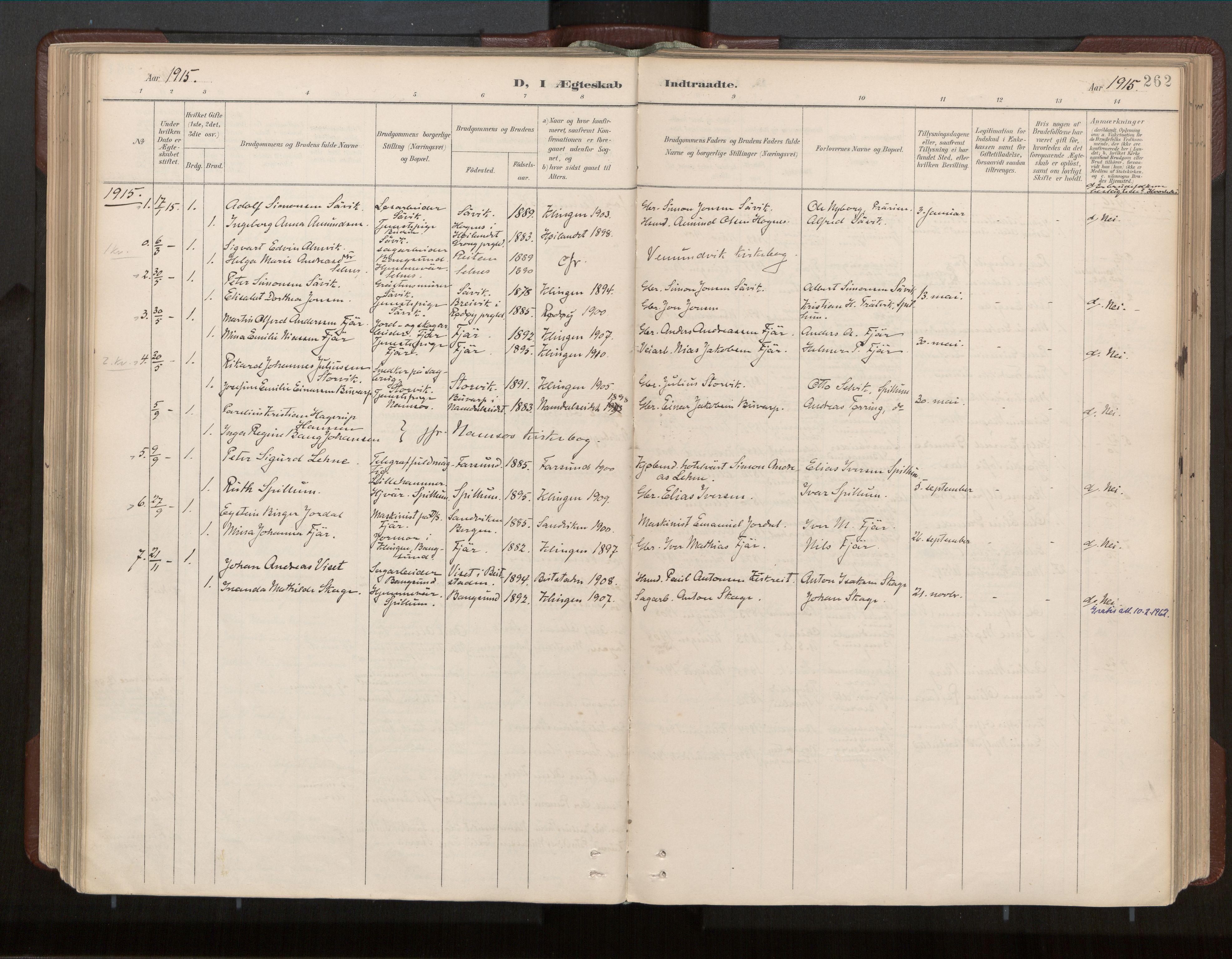 SAT, Ministerialprotokoller, klokkerbøker og fødselsregistre - Nord-Trøndelag, 770/L0589: Ministerialbok nr. 770A03, 1887-1929, s. 262