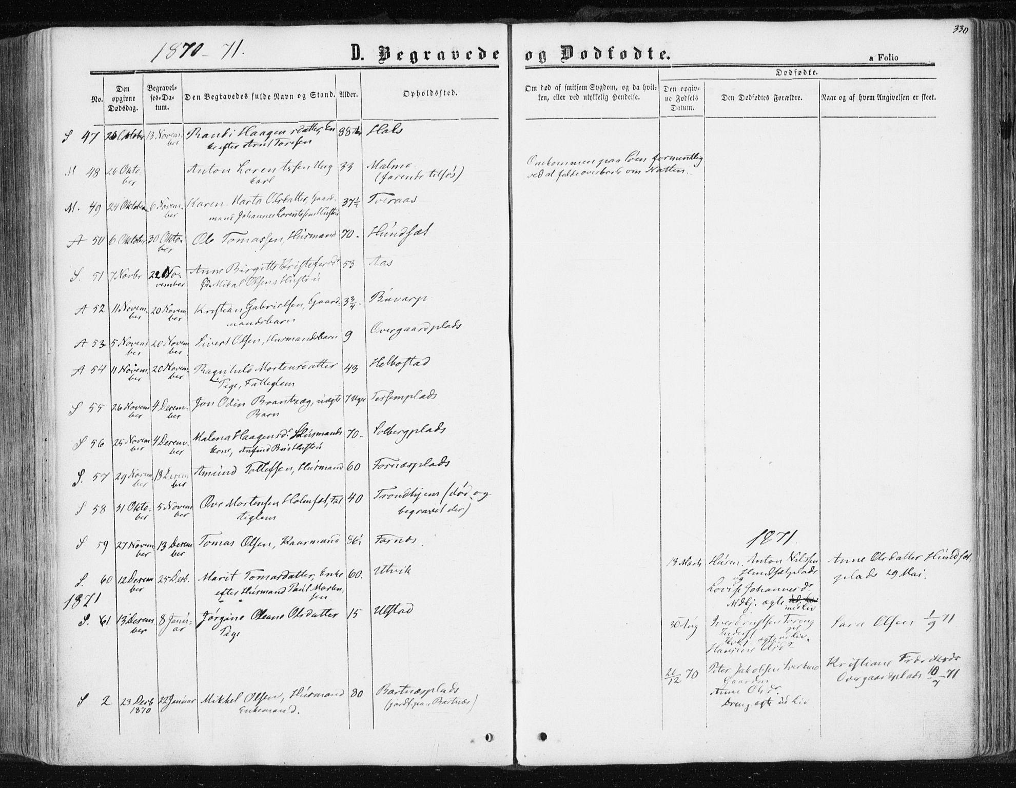 SAT, Ministerialprotokoller, klokkerbøker og fødselsregistre - Nord-Trøndelag, 741/L0394: Ministerialbok nr. 741A08, 1864-1877, s. 330