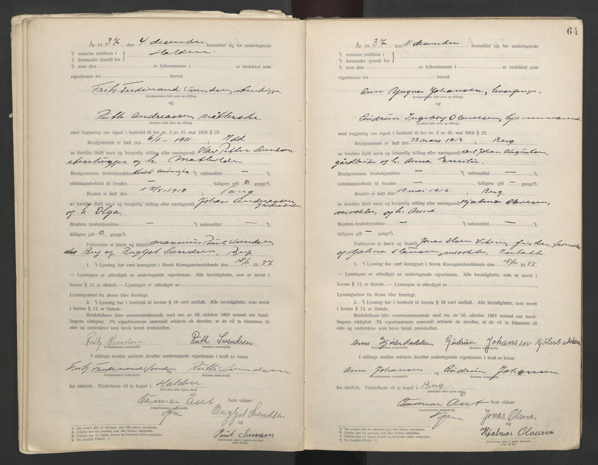 SAO, Idd og Marker sorenskriveri, L/Lc/L0001: Vigselsbøker, 1920-1942, s. 64
