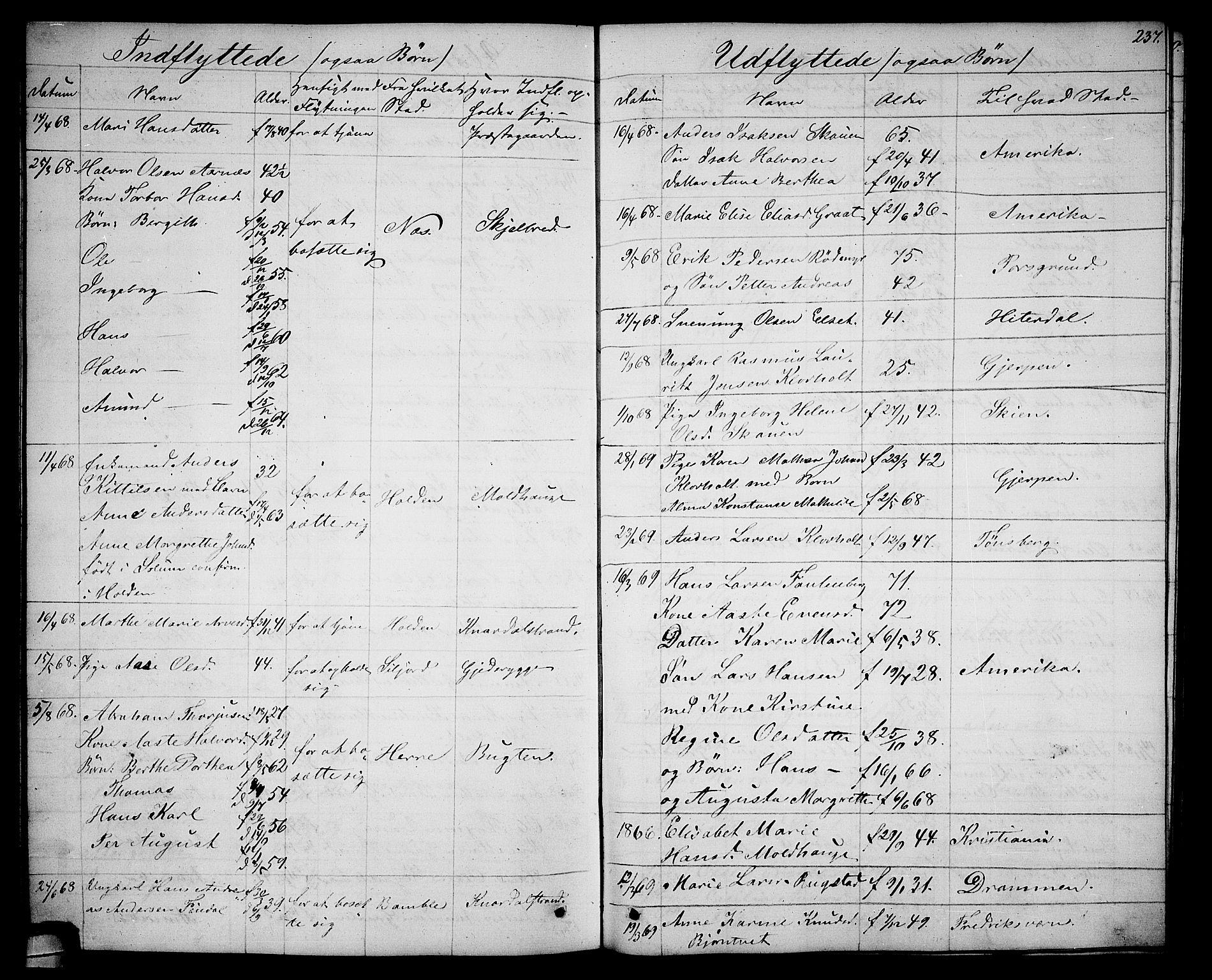 SAKO, Solum kirkebøker, G/Ga/L0004: Klokkerbok nr. I 4, 1859-1876, s. 237