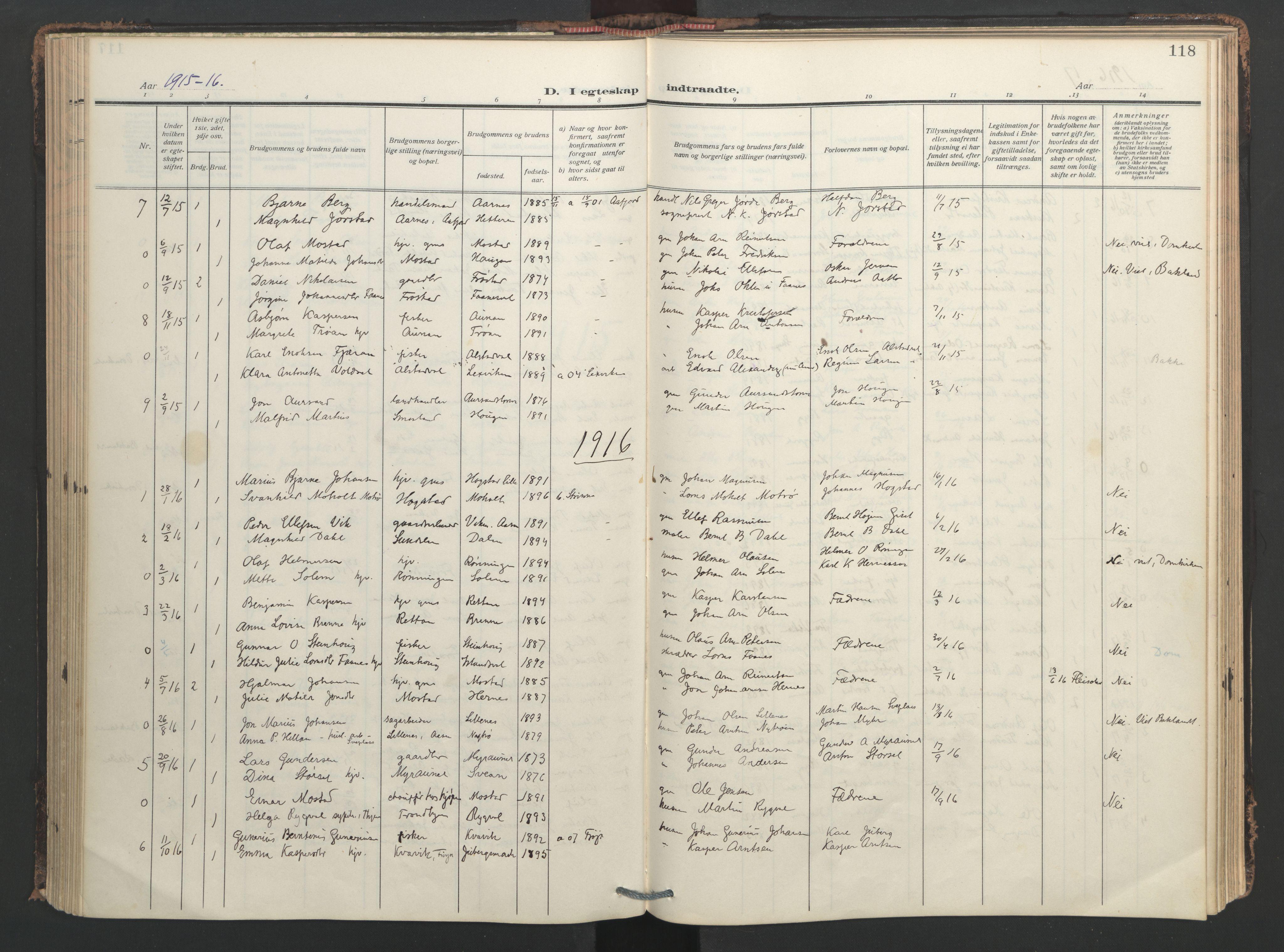 SAT, Ministerialprotokoller, klokkerbøker og fødselsregistre - Nord-Trøndelag, 713/L0123: Ministerialbok nr. 713A12, 1911-1925, s. 118