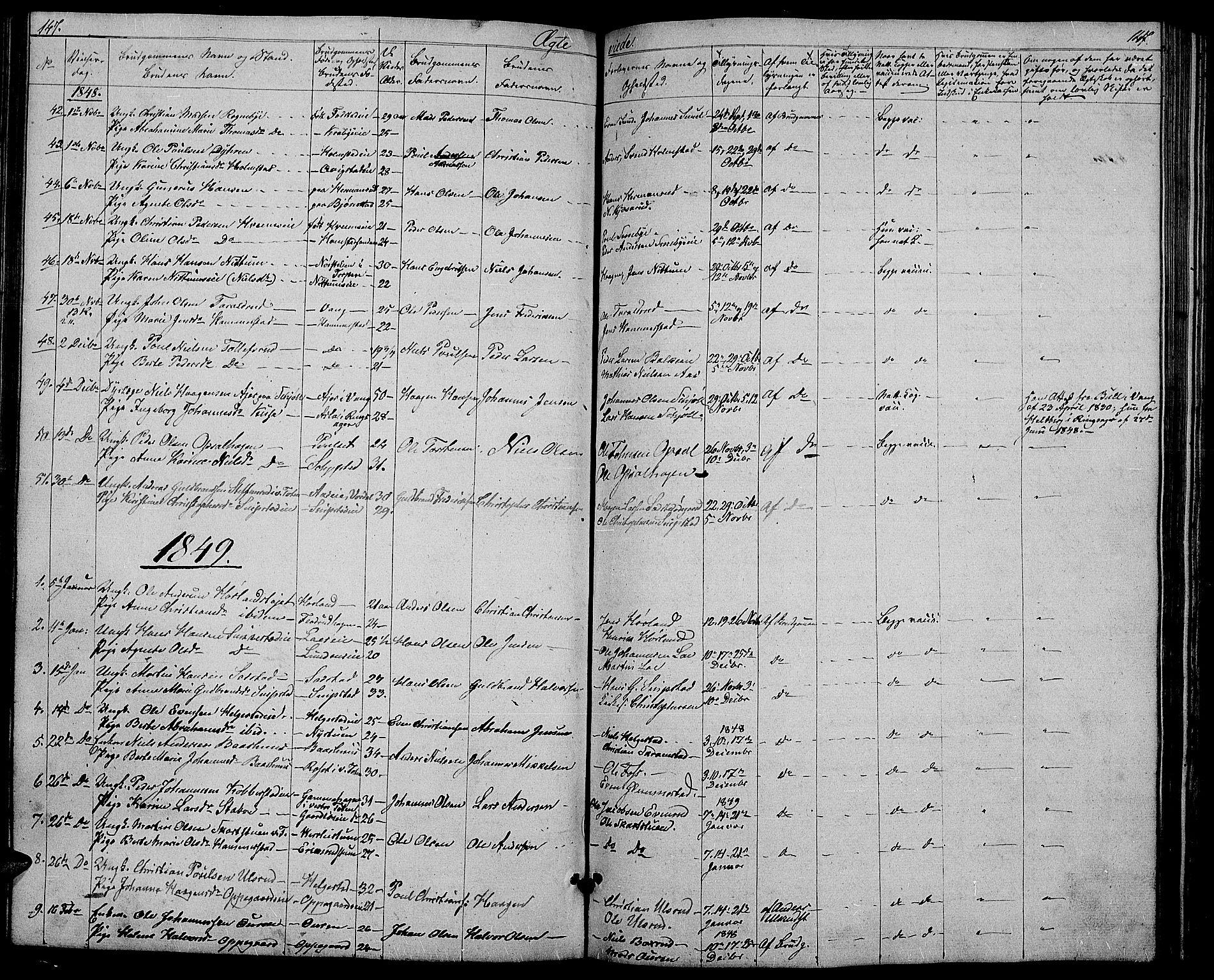 SAH, Østre Toten prestekontor, Klokkerbok nr. 3, 1848-1857, s. 147