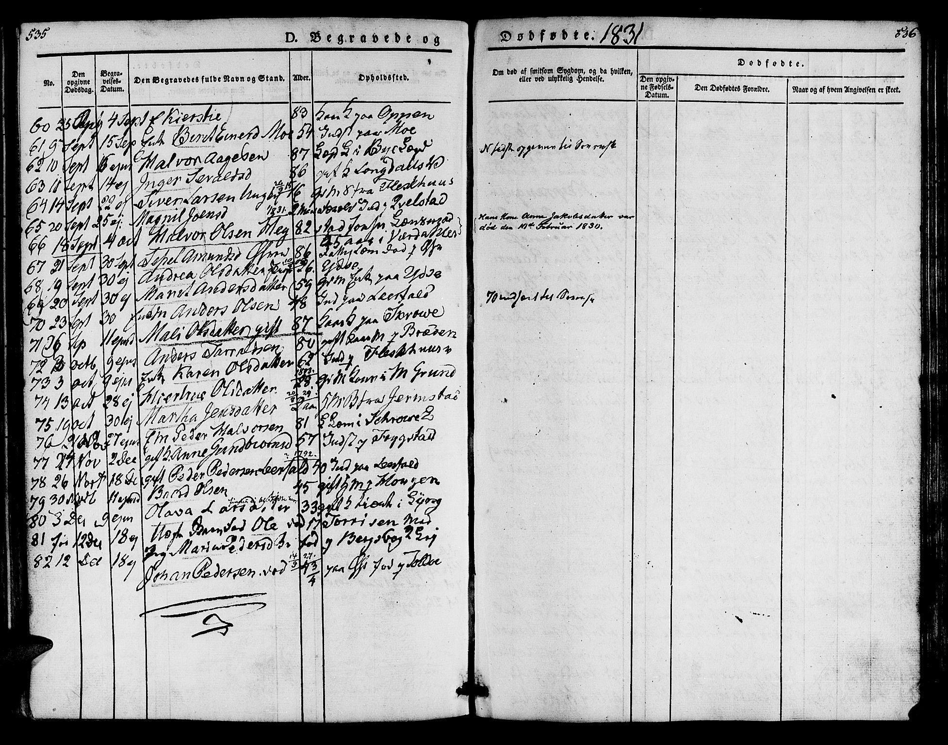 SAT, Ministerialprotokoller, klokkerbøker og fødselsregistre - Nord-Trøndelag, 723/L0238: Ministerialbok nr. 723A07, 1831-1840, s. 535-536
