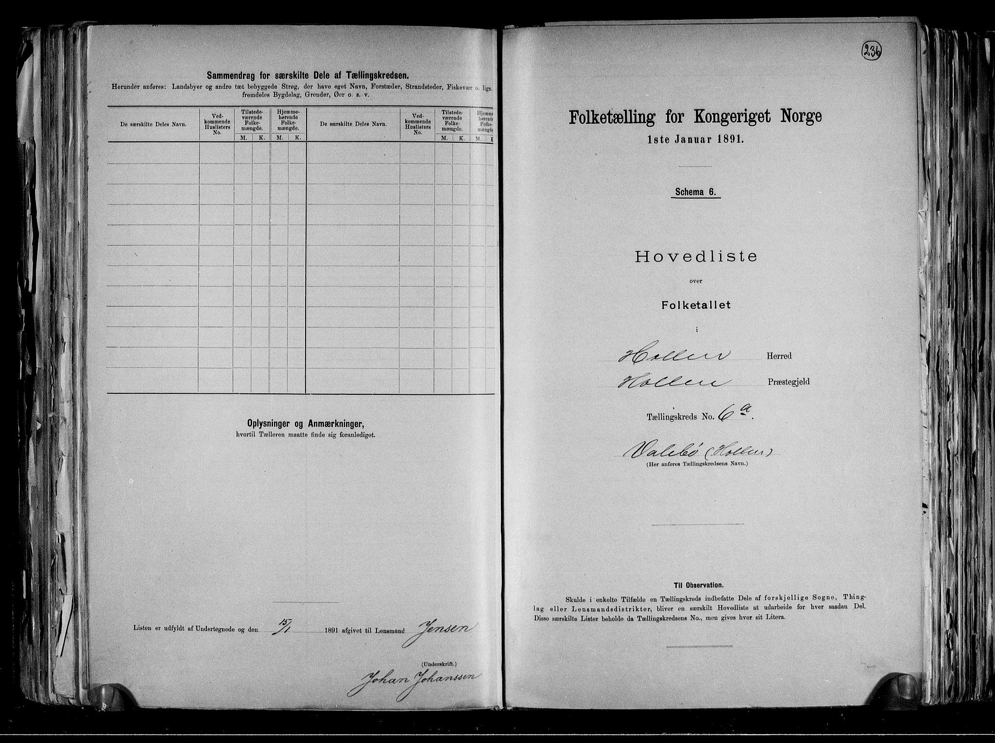 RA, Folketelling 1891 for 0819 Holla herred, 1891, s. 14