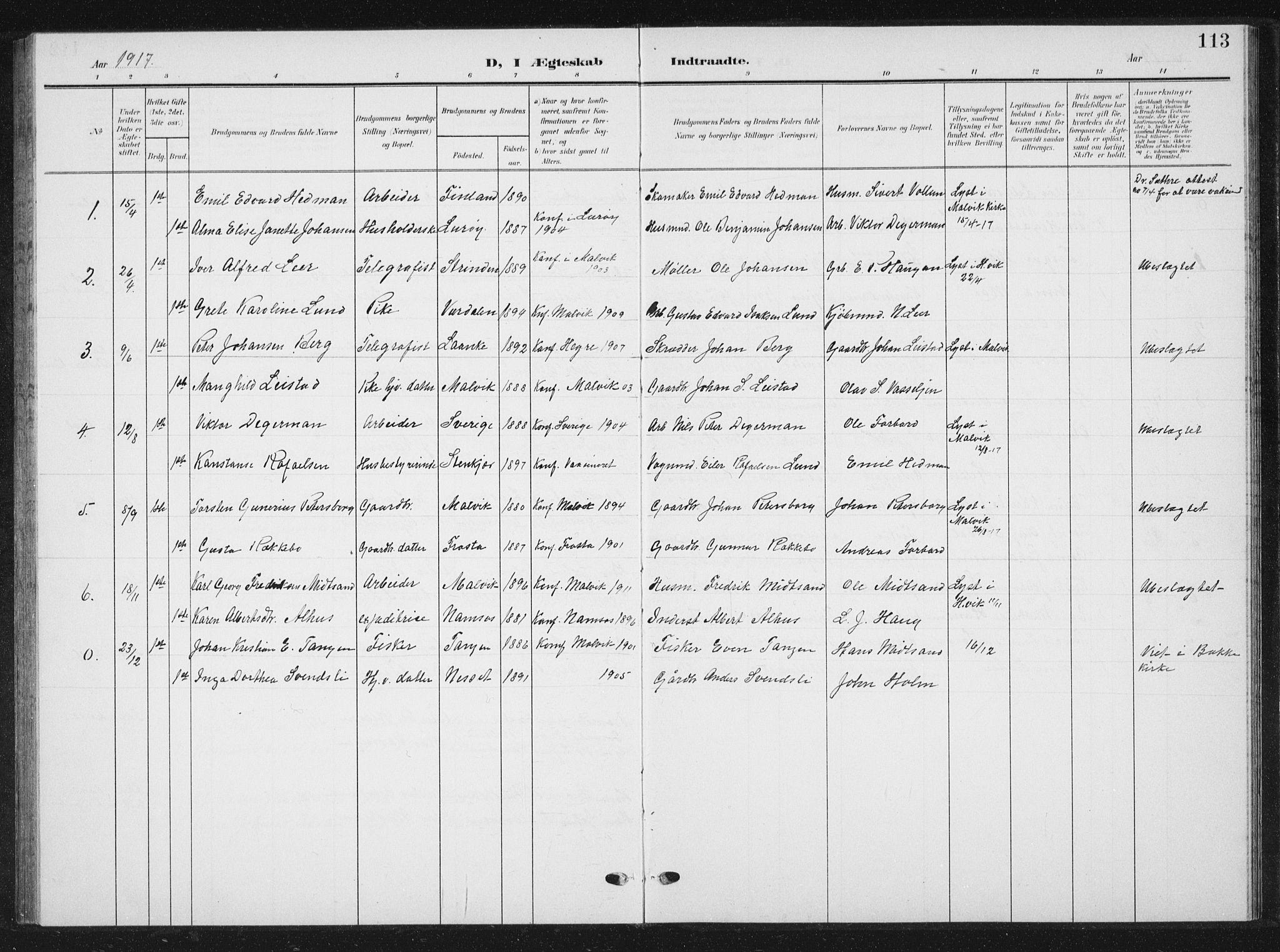 SAT, Ministerialprotokoller, klokkerbøker og fødselsregistre - Sør-Trøndelag, 616/L0424: Klokkerbok nr. 616C07, 1904-1940, s. 113