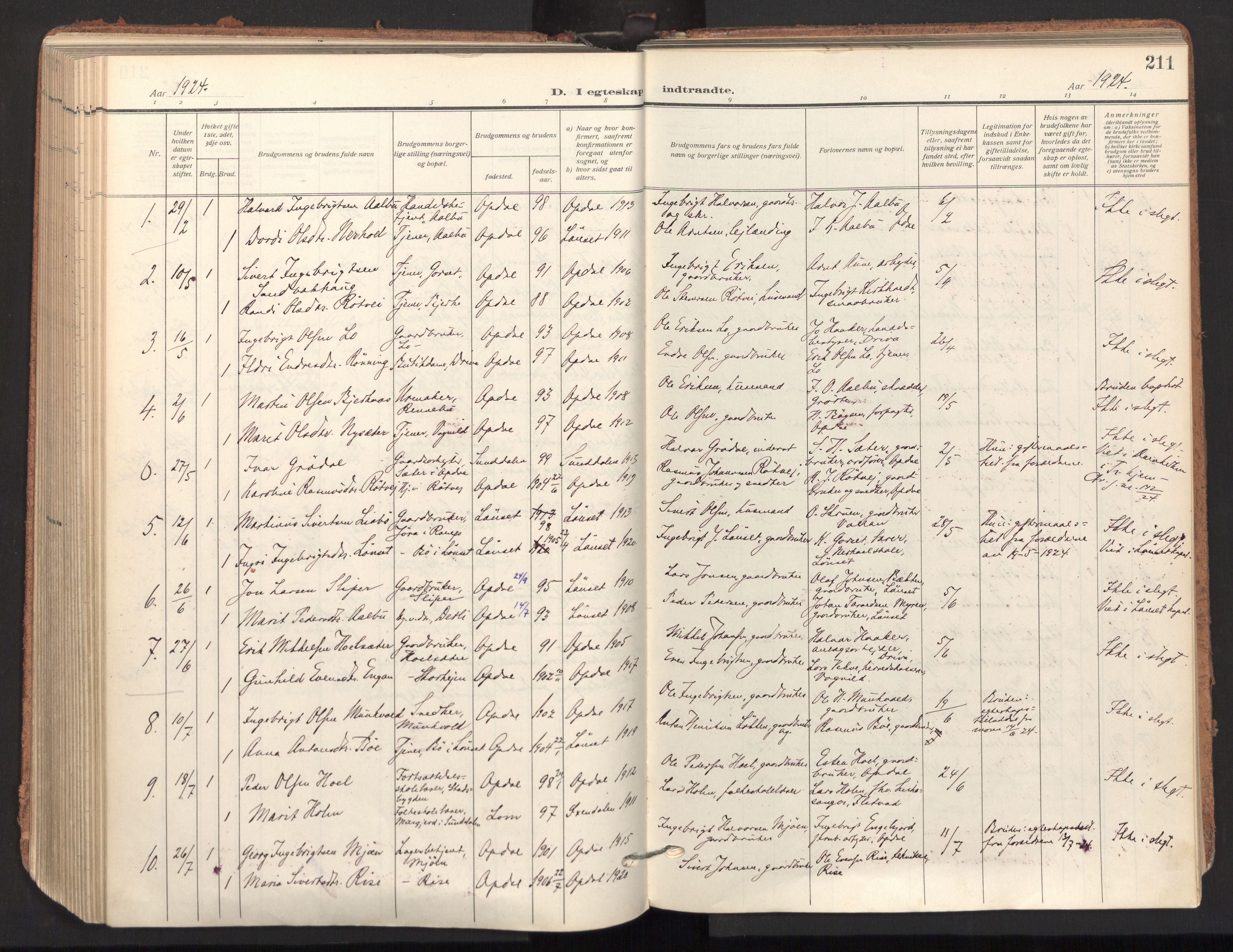 SAT, Ministerialprotokoller, klokkerbøker og fødselsregistre - Sør-Trøndelag, 678/L0909: Ministerialbok nr. 678A17, 1912-1930, s. 211