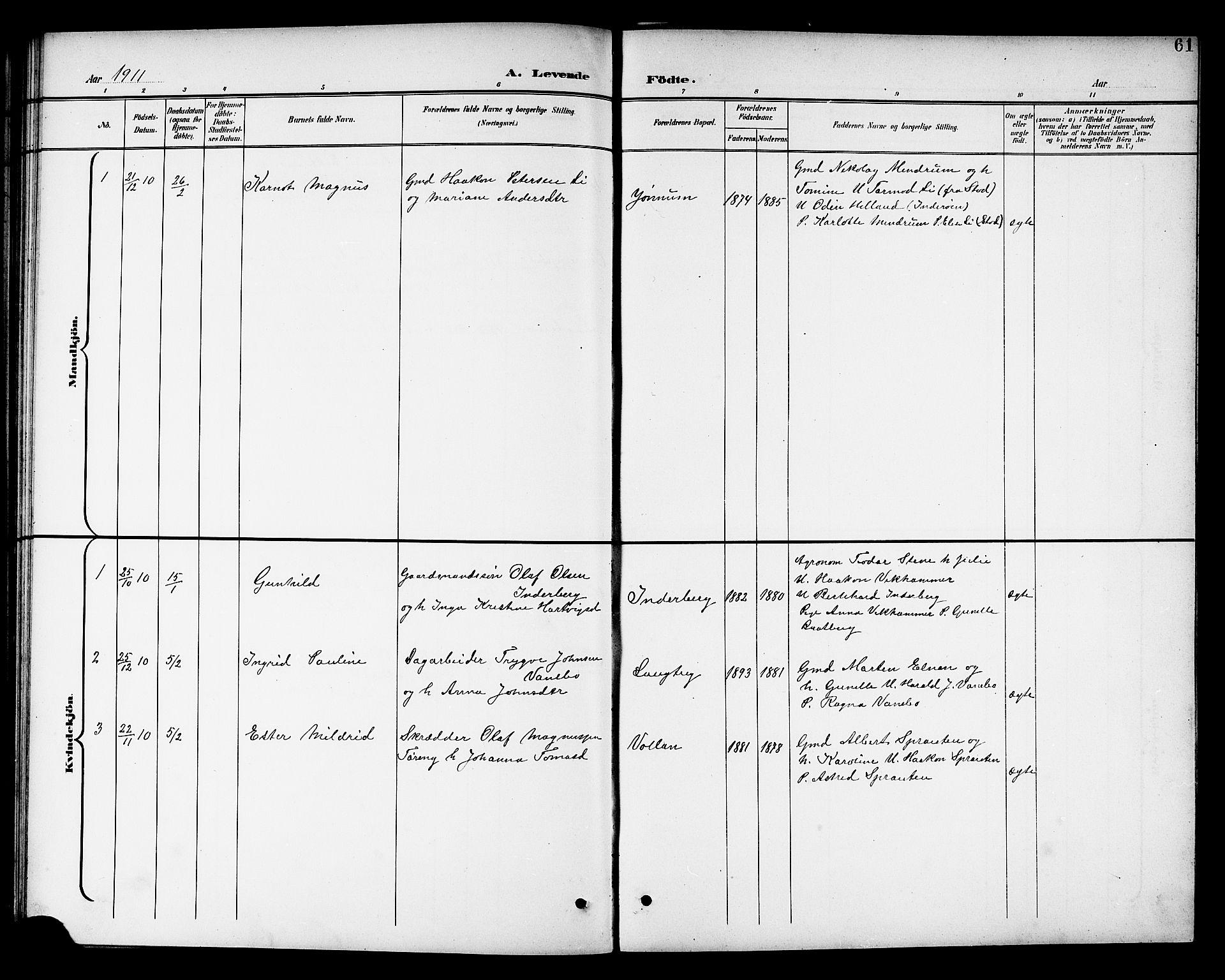 SAT, Ministerialprotokoller, klokkerbøker og fødselsregistre - Nord-Trøndelag, 741/L0401: Klokkerbok nr. 741C02, 1899-1911, s. 61