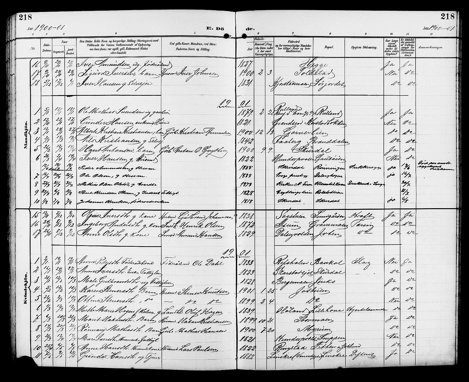 SAH, Sør-Fron prestekontor, H/Ha/Hab/L0004: Klokkerbok nr. 4, 1896-1911, s. 218