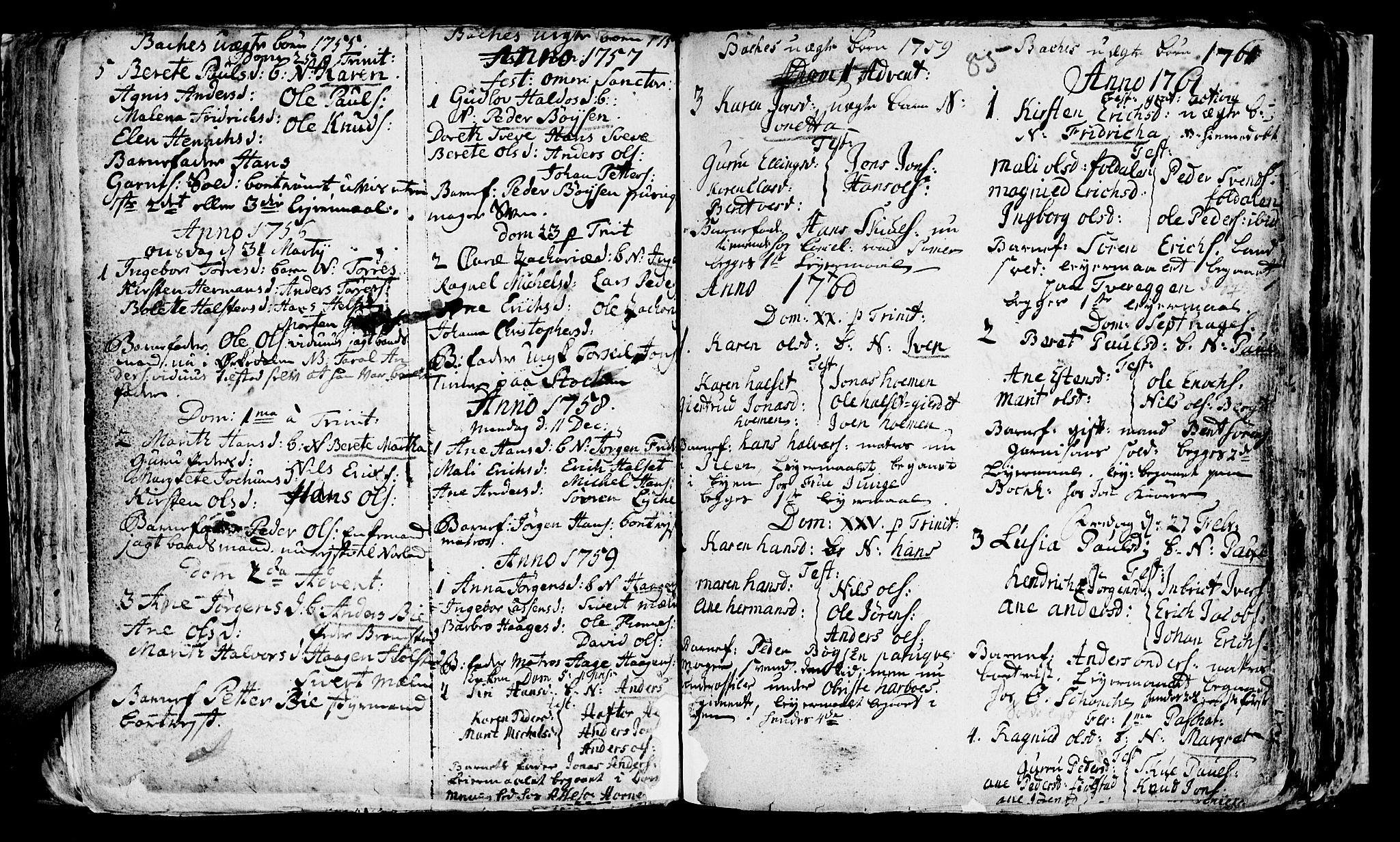 SAT, Ministerialprotokoller, klokkerbøker og fødselsregistre - Sør-Trøndelag, 604/L0218: Klokkerbok nr. 604C01, 1754-1819, s. 85