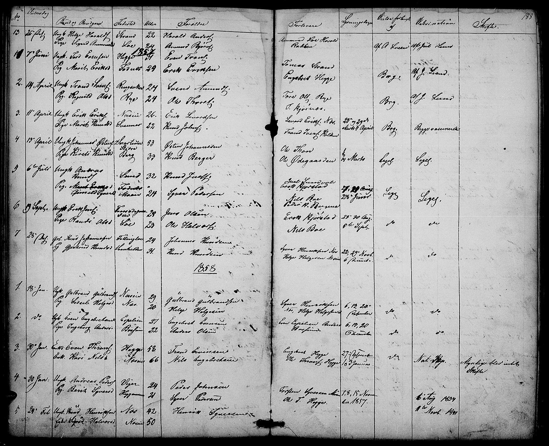 SAH, Nord-Aurdal prestekontor, Klokkerbok nr. 3, 1842-1882, s. 188