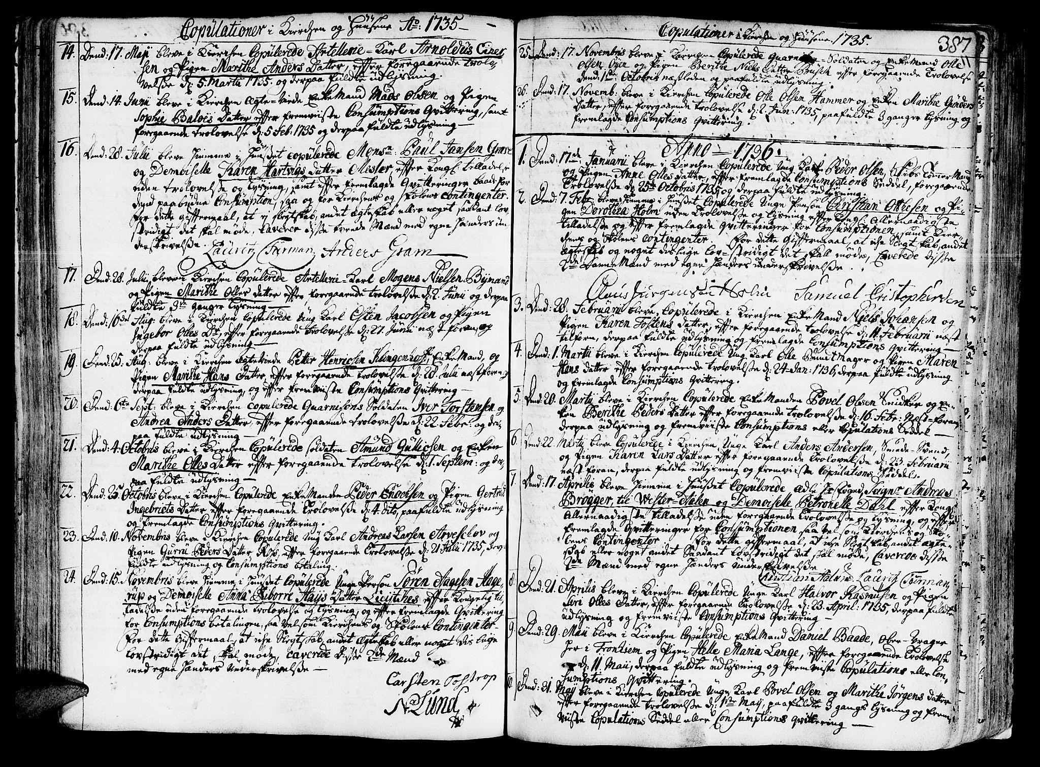 SAT, Ministerialprotokoller, klokkerbøker og fødselsregistre - Sør-Trøndelag, 602/L0103: Ministerialbok nr. 602A01, 1732-1774, s. 387