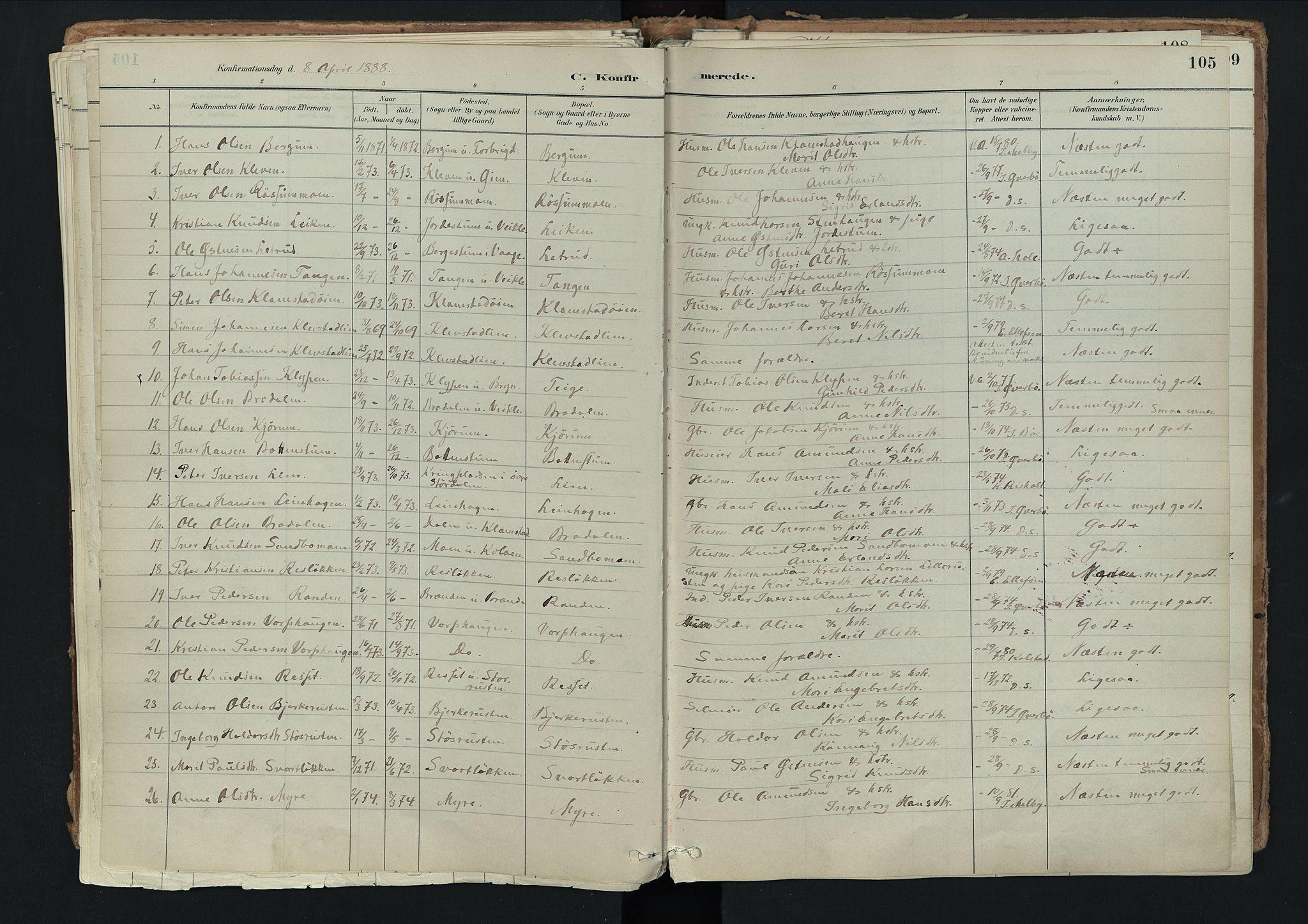 SAH, Nord-Fron prestekontor, Ministerialbok nr. 3, 1884-1914, s. 105