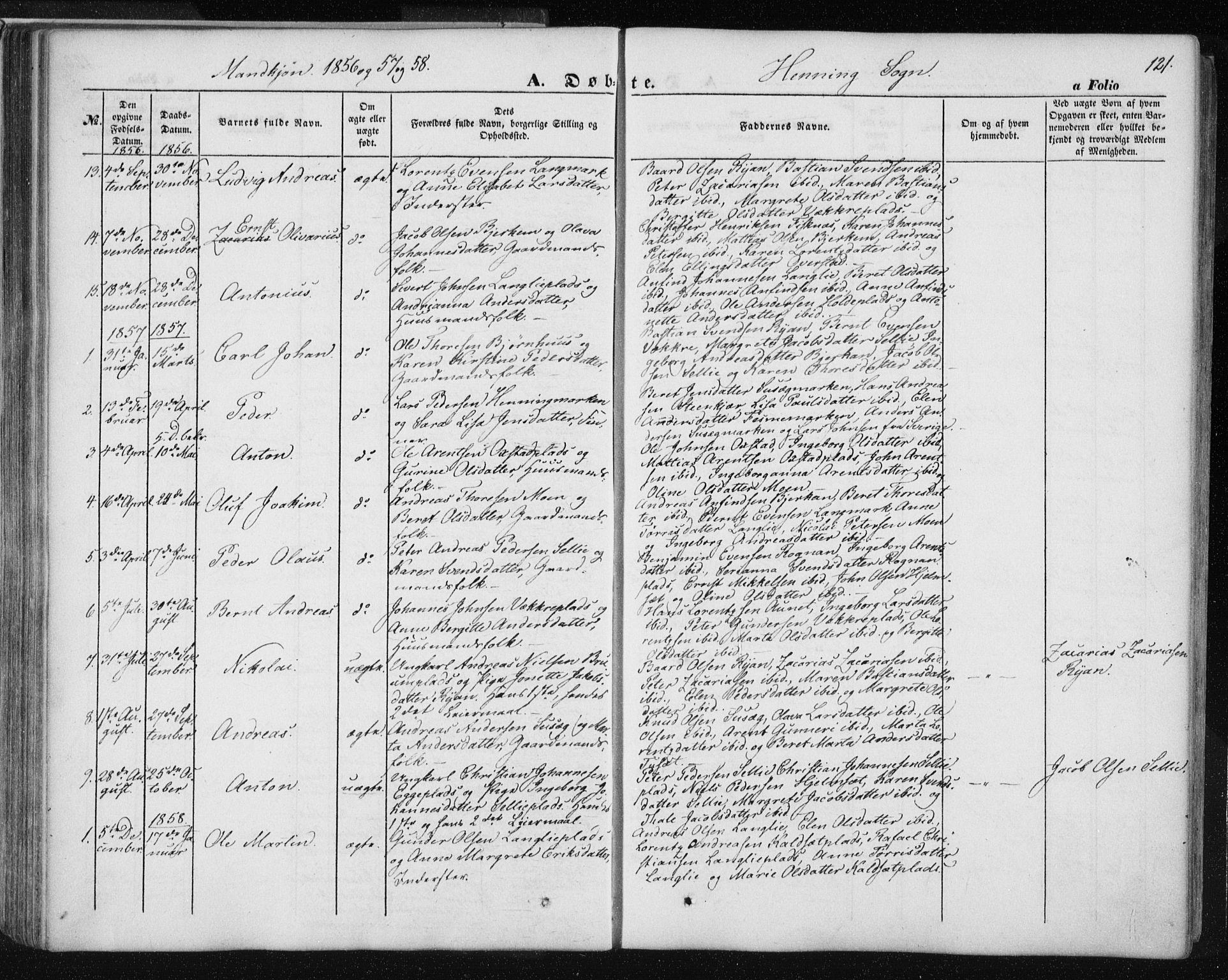SAT, Ministerialprotokoller, klokkerbøker og fødselsregistre - Nord-Trøndelag, 735/L0342: Ministerialbok nr. 735A07 /3, 1849-1862, s. 121
