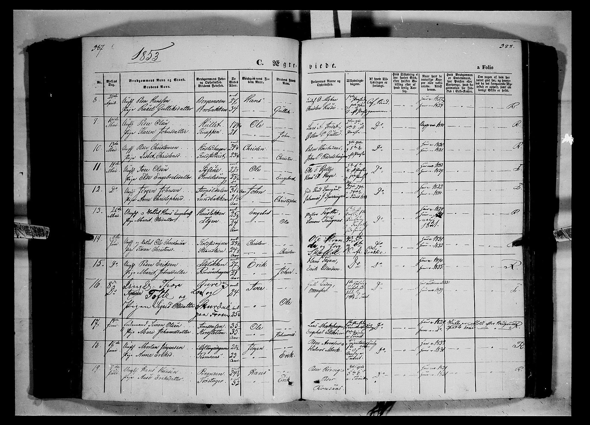 SAH, Ringebu prestekontor, Ministerialbok nr. 6, 1848-1859, s. 387-388