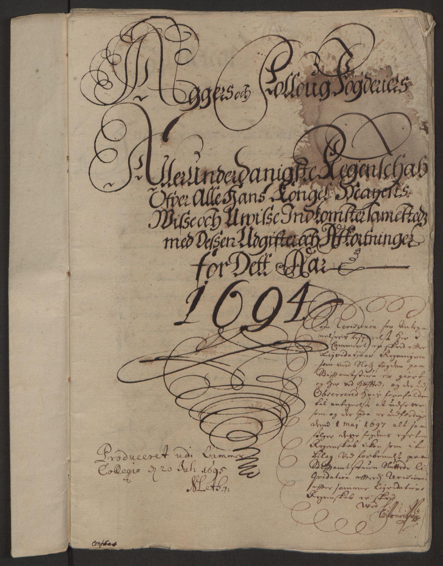 RA, Rentekammeret inntil 1814, Reviderte regnskaper, Fogderegnskap, R10/L0438: Fogderegnskap Aker og Follo, 1694, s. 2