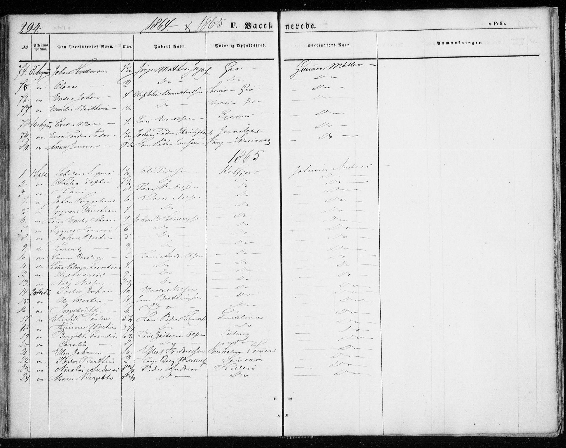 SATØ, Lenvik sokneprestembete, H/Ha: Ministerialbok nr. 7, 1855-1865, s. 294