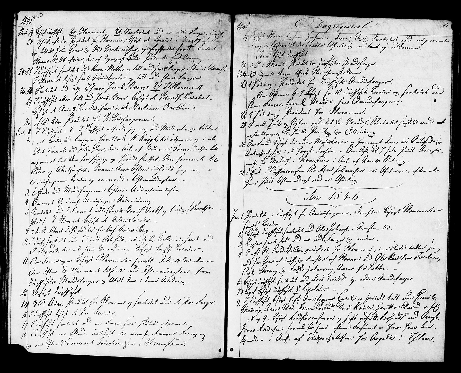 SAT, Ministerialprotokoller, klokkerbøker og fødselsregistre - Sør-Trøndelag, 624/L0480: Ministerialbok nr. 624A01, 1841-1864, s. 43