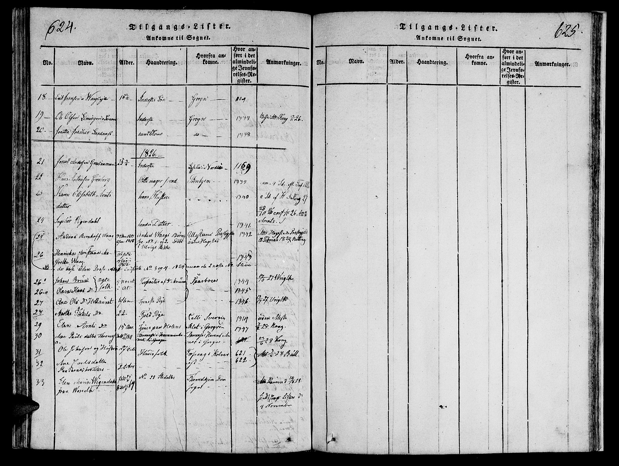 SAT, Ministerialprotokoller, klokkerbøker og fødselsregistre - Nord-Trøndelag, 749/L0479: Klokkerbok nr. 749C01, 1817-1829, s. 624-625