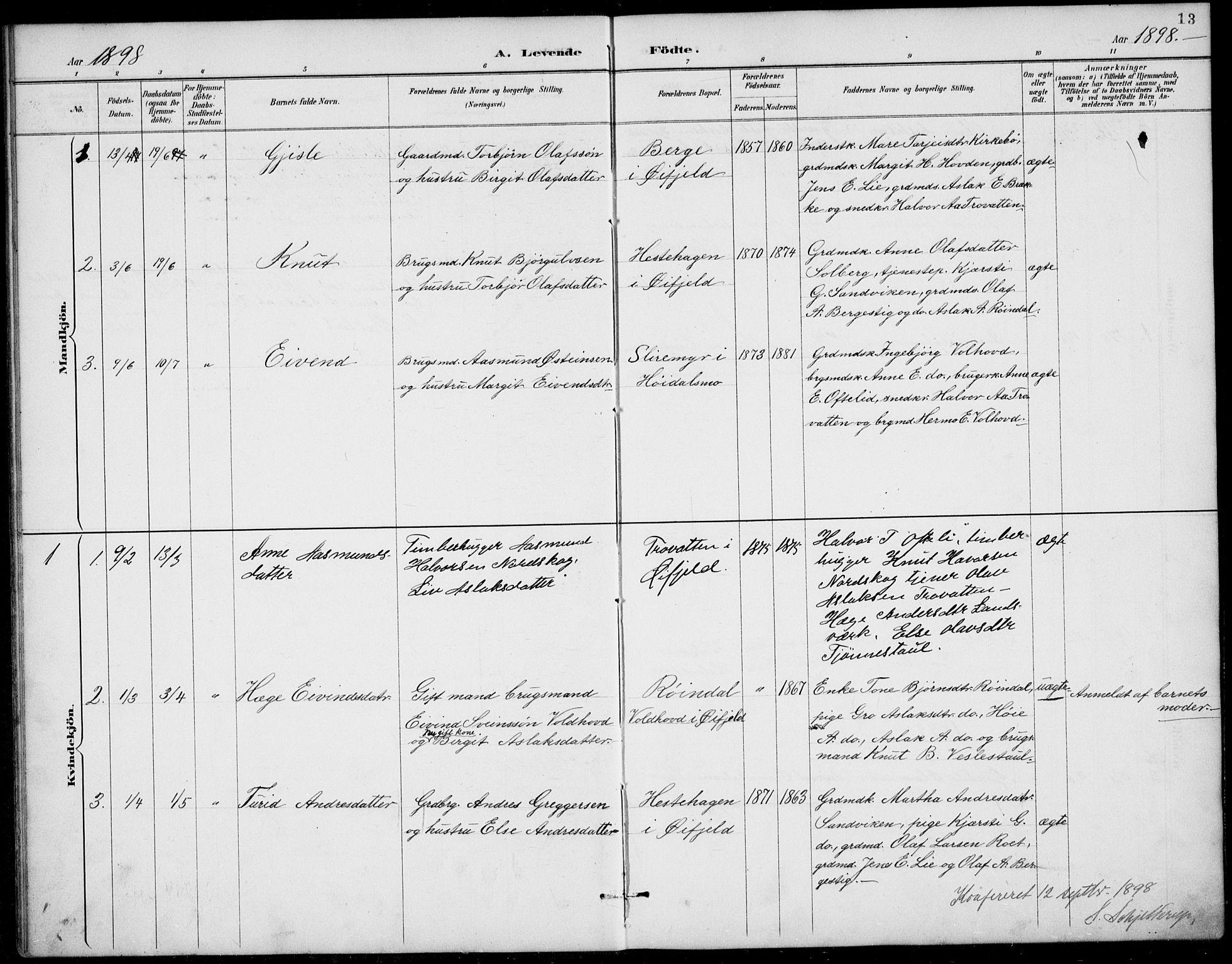 SAKO, Rauland kirkebøker, G/Gb/L0002: Klokkerbok nr. II 2, 1887-1937, s. 13