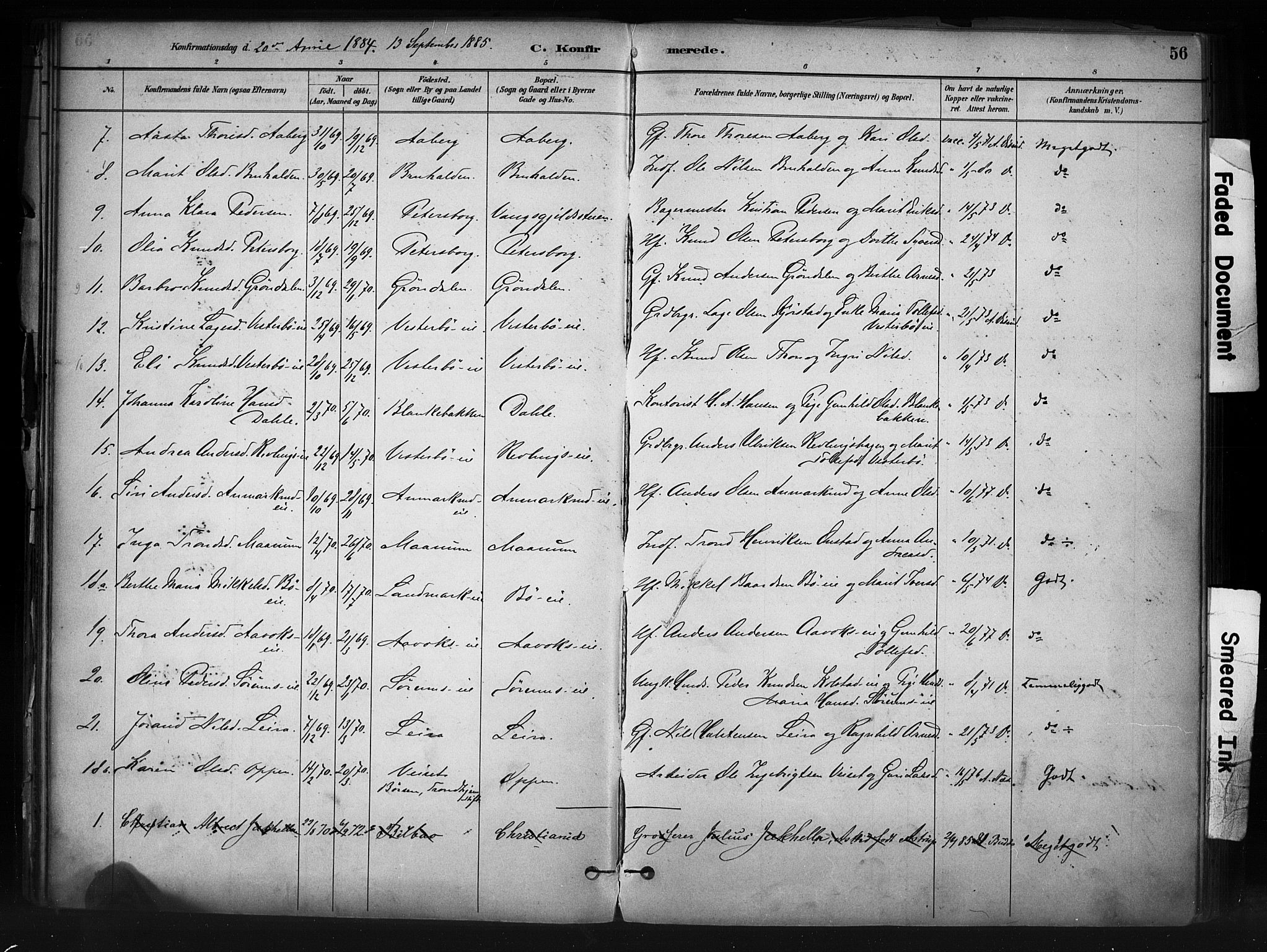 SAH, Nord-Aurdal prestekontor, Ministerialbok nr. 13, 1883-1895, s. 56