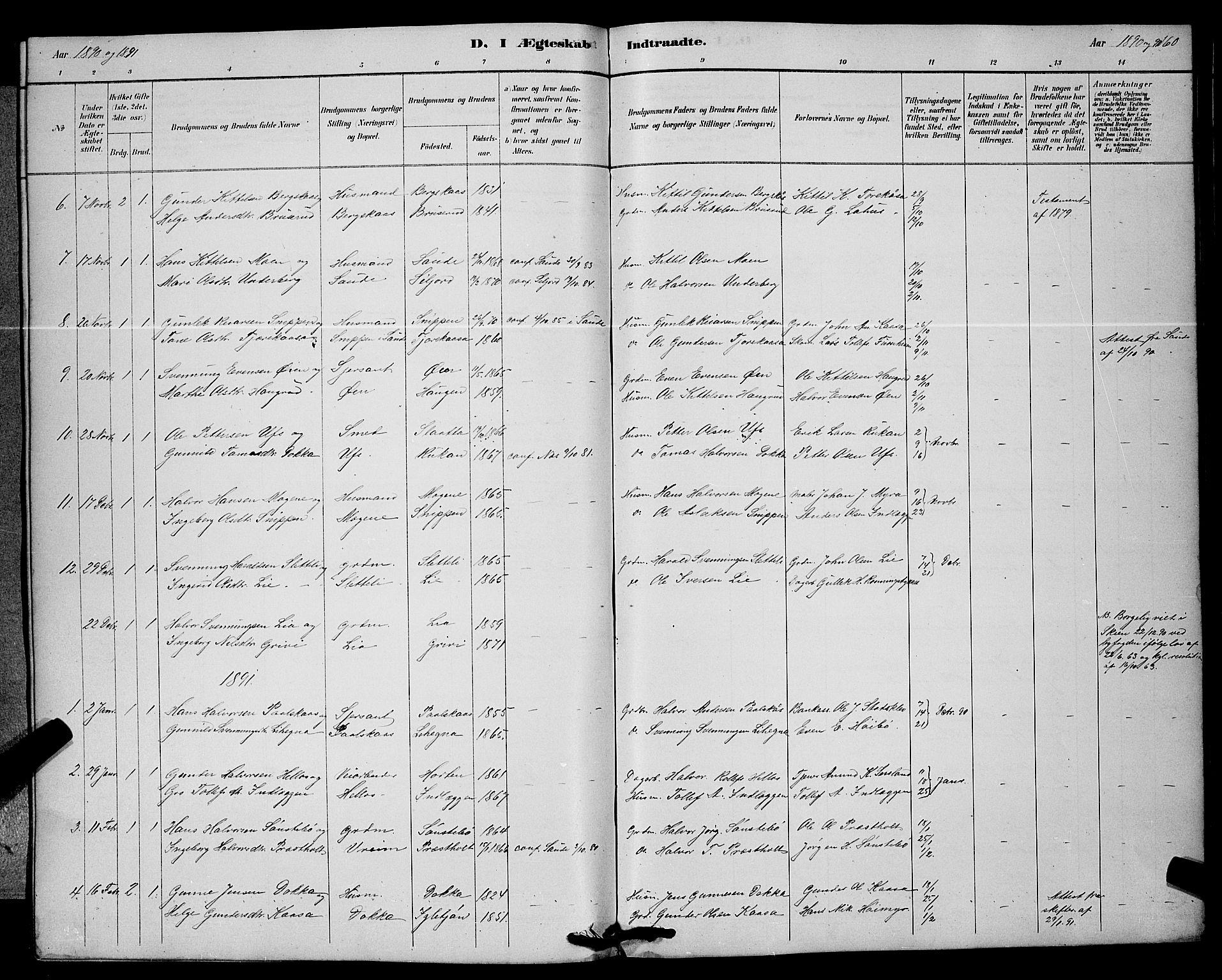 SAKO, Bø kirkebøker, G/Ga/L0005: Klokkerbok nr. 5, 1883-1897, s. 160