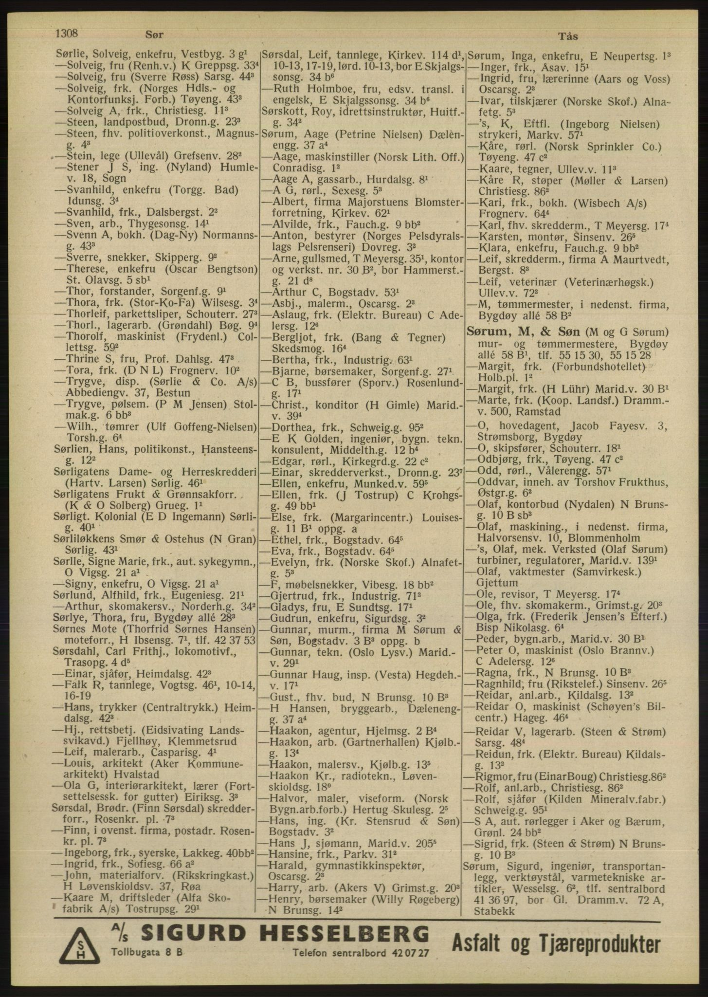 RA, Oslo adressebok (publikasjon)*, 1947, s. 1308