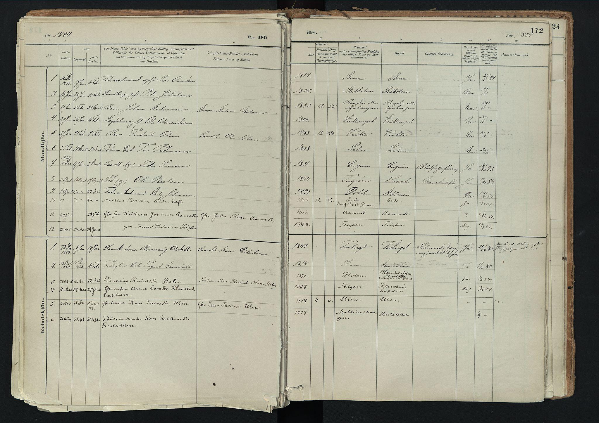 SAH, Nord-Fron prestekontor, Ministerialbok nr. 3, 1884-1914, s. 172