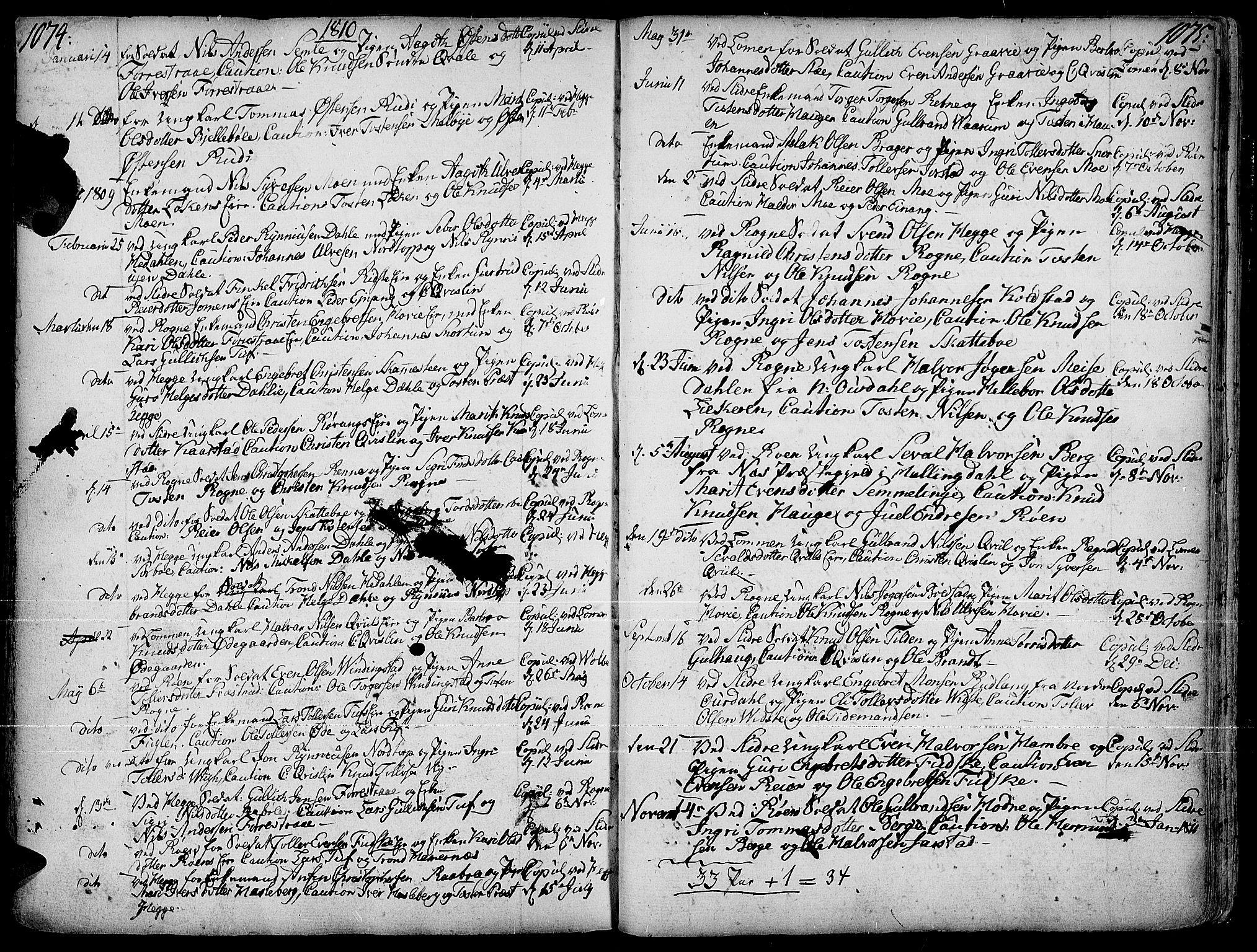 SAH, Slidre prestekontor, Ministerialbok nr. 1, 1724-1814, s. 1074-1075