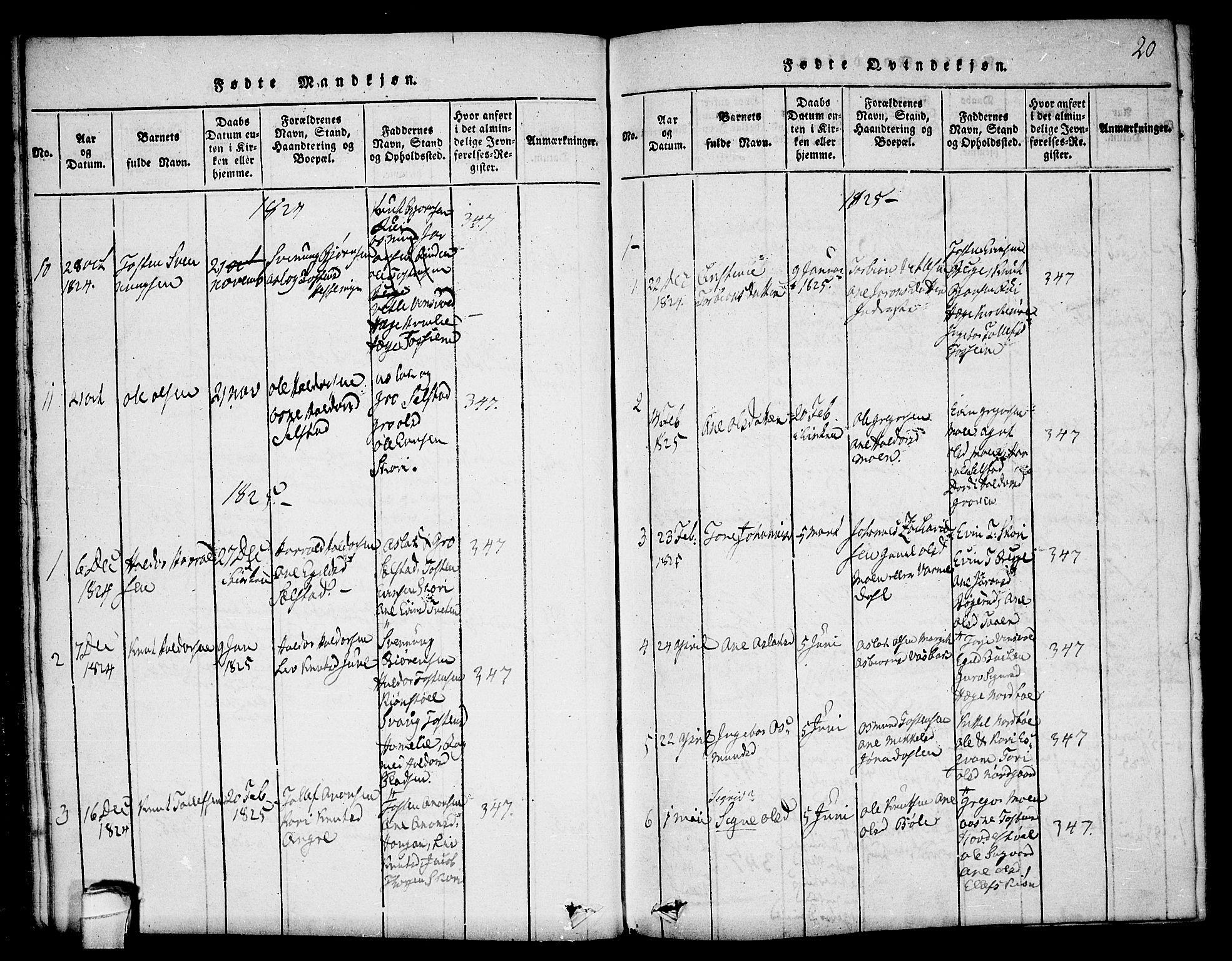 SAKO, Seljord kirkebøker, F/Fc/L0001: Ministerialbok nr. III 1, 1815-1831, s. 20