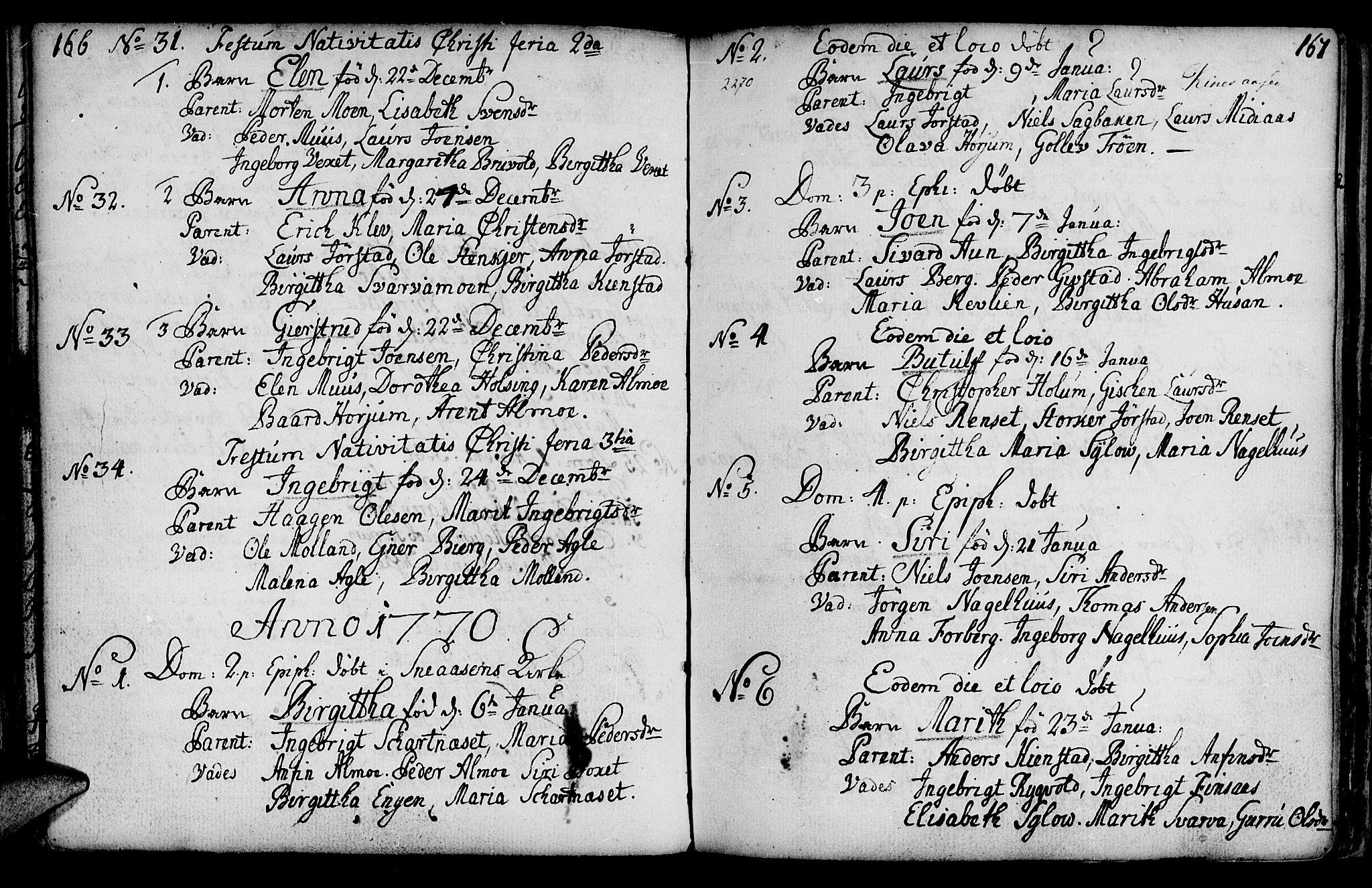 SAT, Ministerialprotokoller, klokkerbøker og fødselsregistre - Nord-Trøndelag, 749/L0467: Ministerialbok nr. 749A01, 1733-1787, s. 166-167