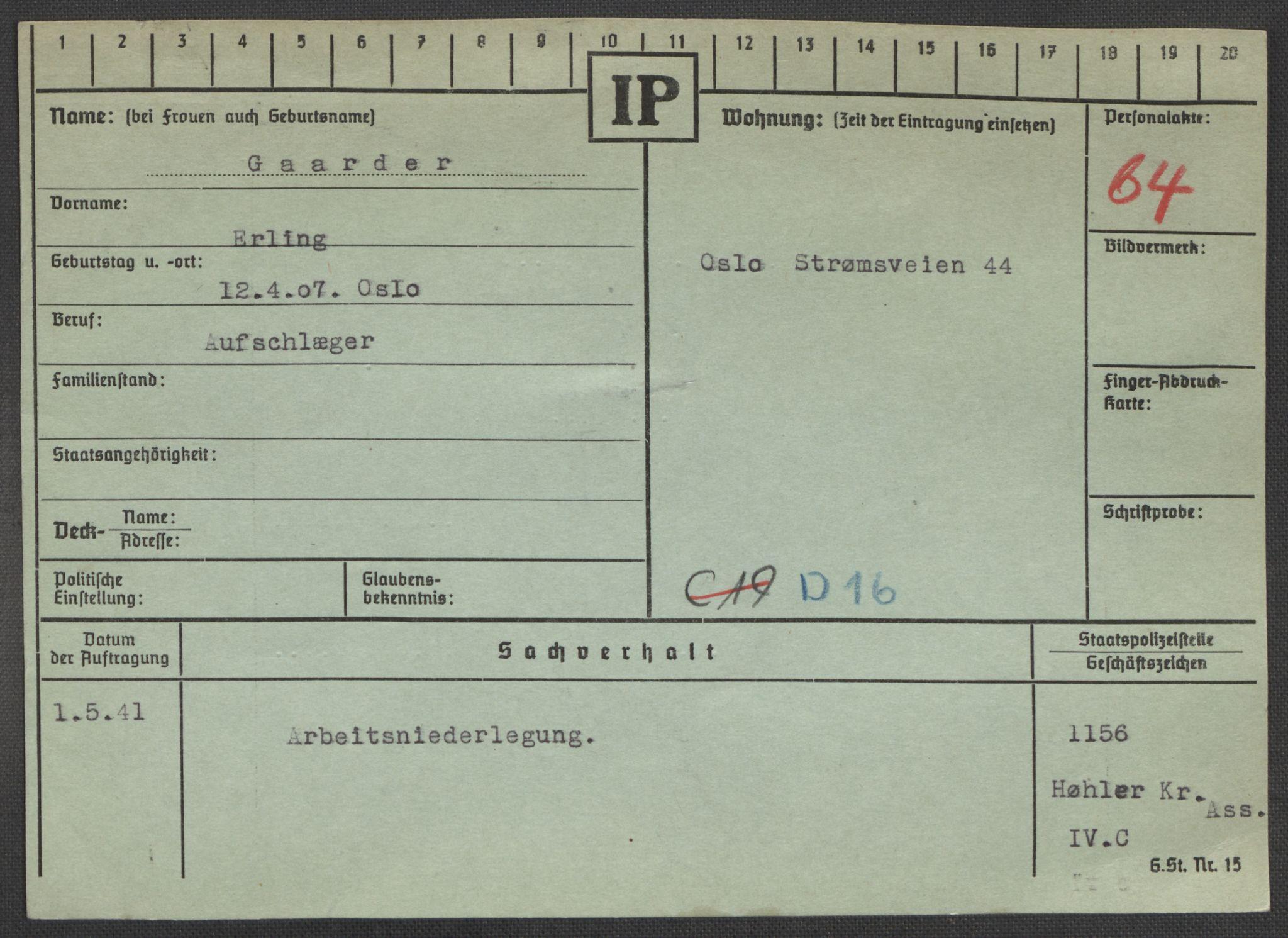 RA, Befehlshaber der Sicherheitspolizei und des SD, E/Ea/Eaa/L0003: Register over norske fanger i Møllergata 19: Eng-Hag, 1940-1945, s. 1356
