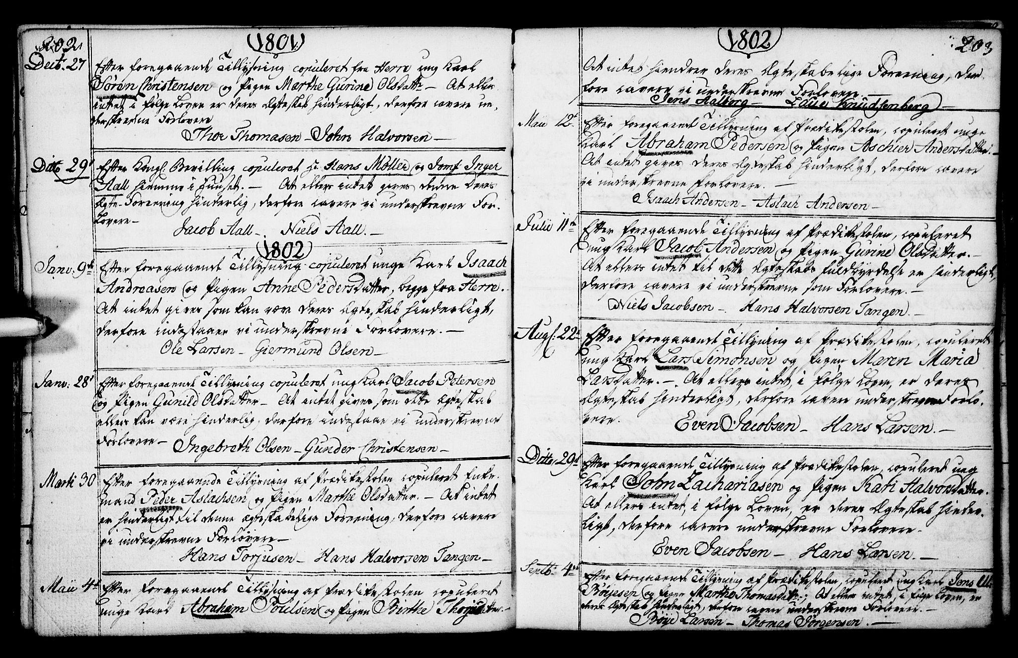 SAKO, Porsgrunn kirkebøker , F/Fa/L0003: Ministerialbok nr. 3, 1764-1814, s. 202-203