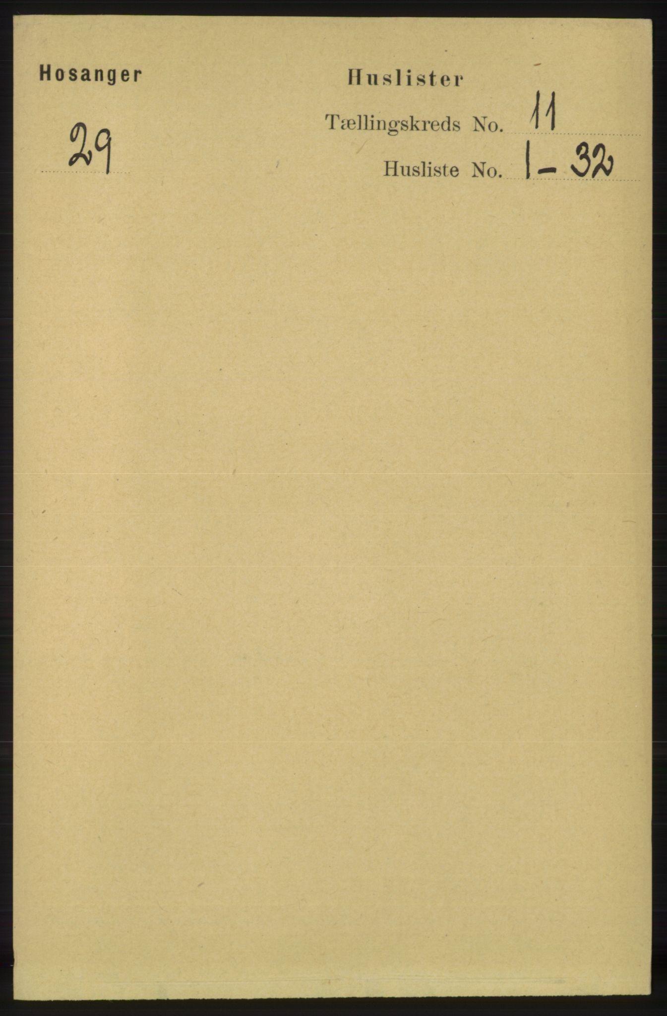 RA, Folketelling 1891 for 1253 Hosanger herred, 1891, s. 3658