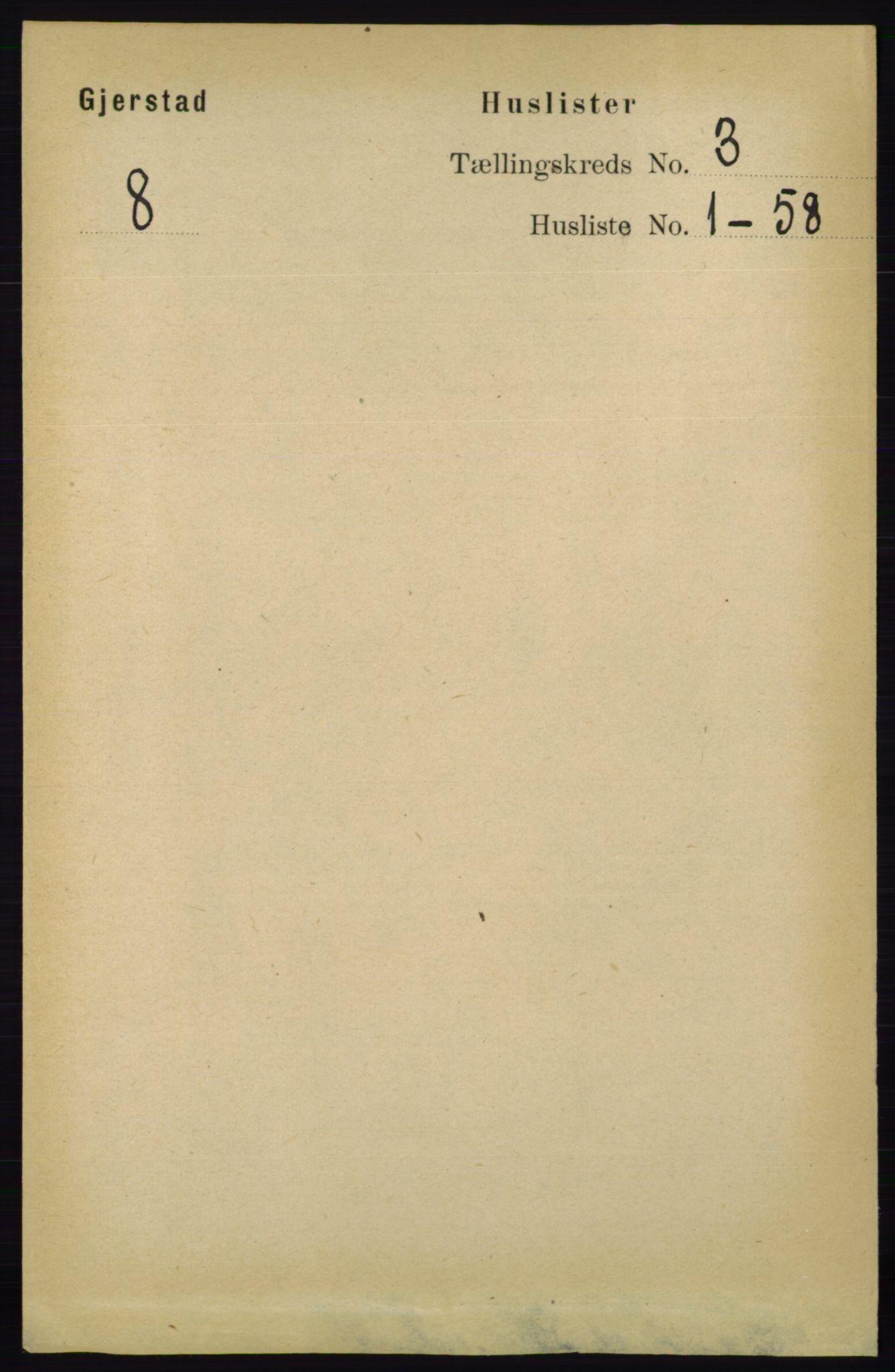RA, Folketelling 1891 for 0911 Gjerstad herred, 1891, s. 992